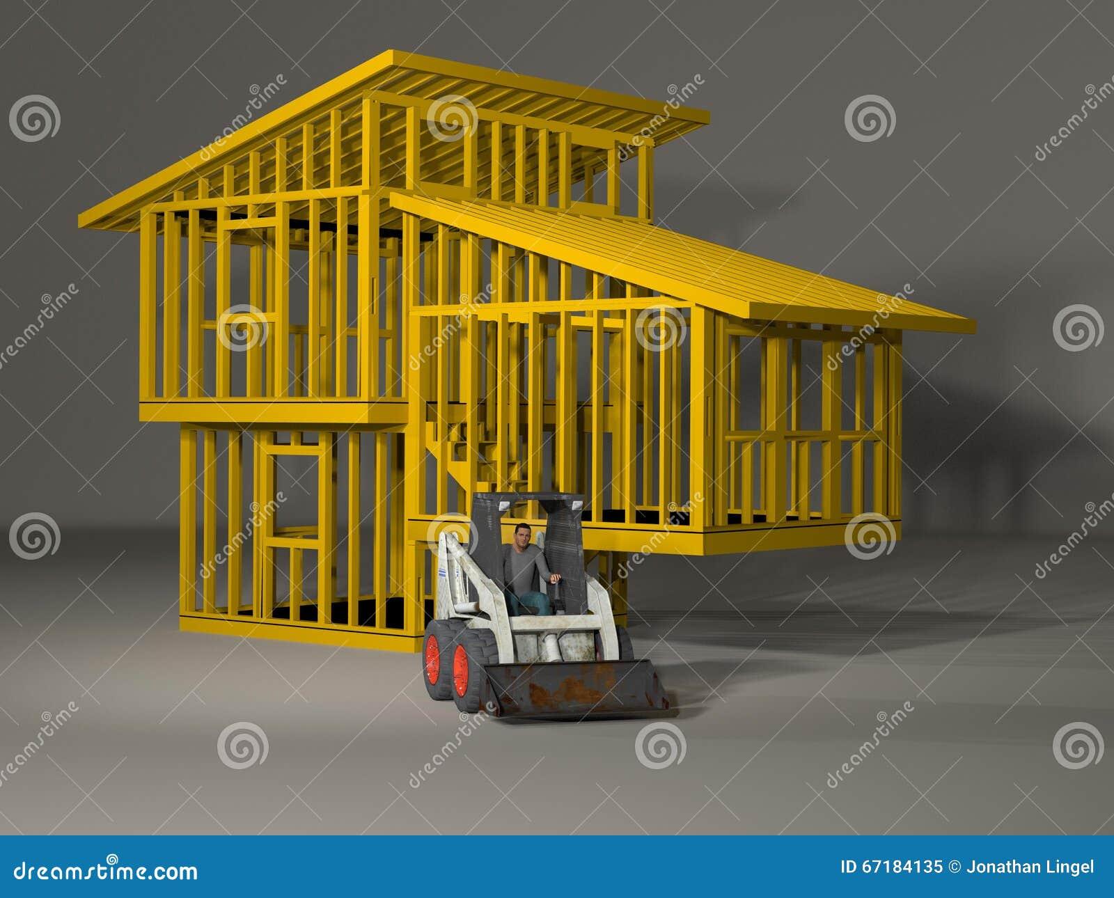 3d model of a split level house frame stock illustration image
