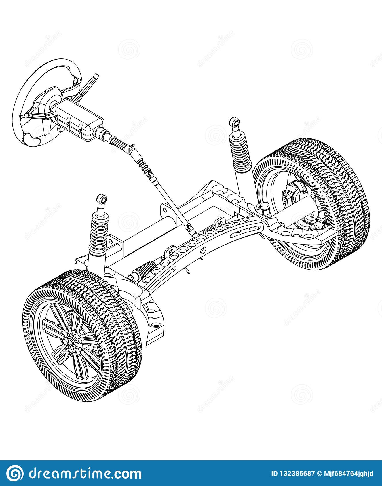 3d Model Of Steering Column And Car Suspension On White