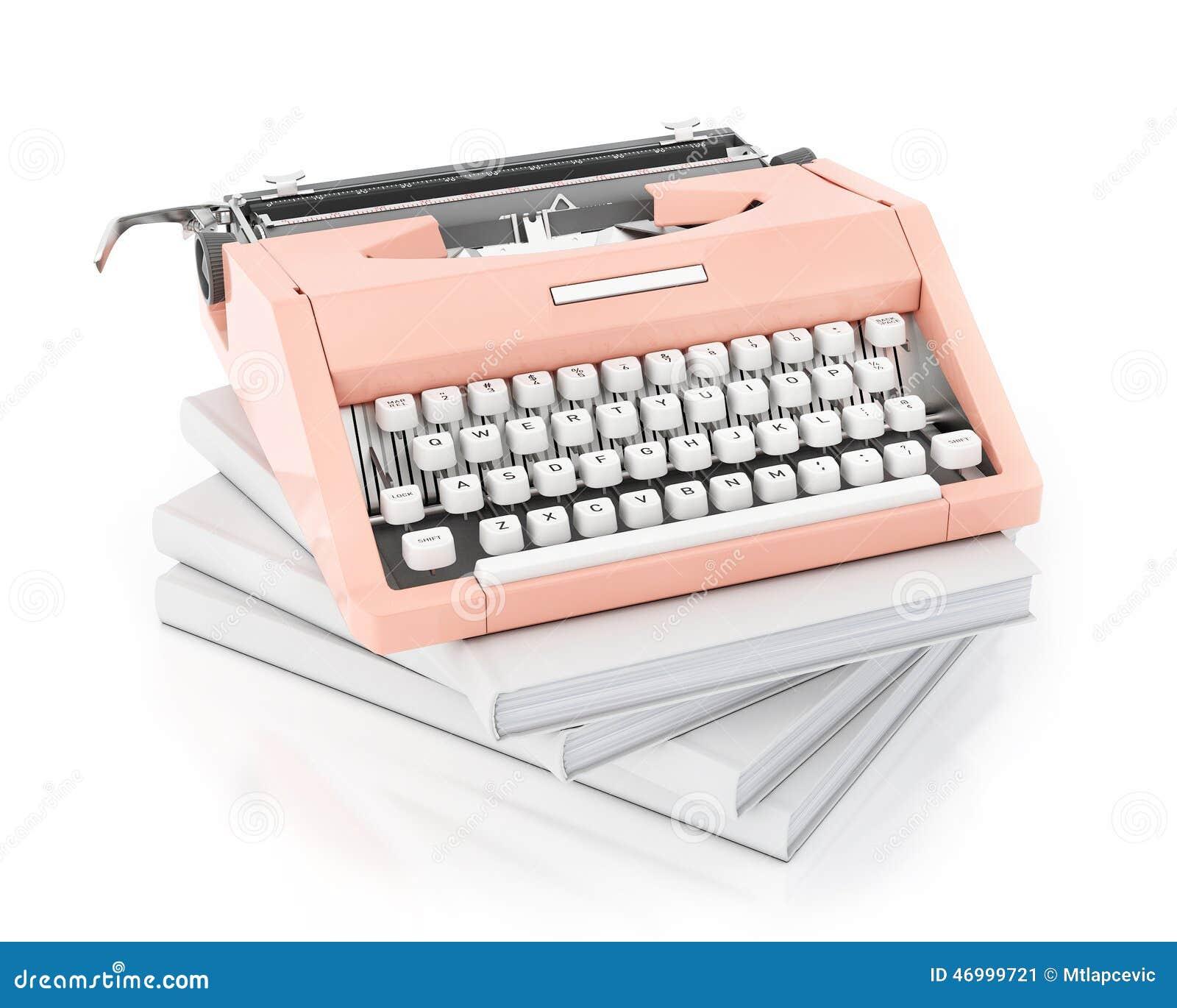 3d model van uitstekende roze het typen machine op stapel van lege die boeken, op witte achtergrond wordt geïsoleerd