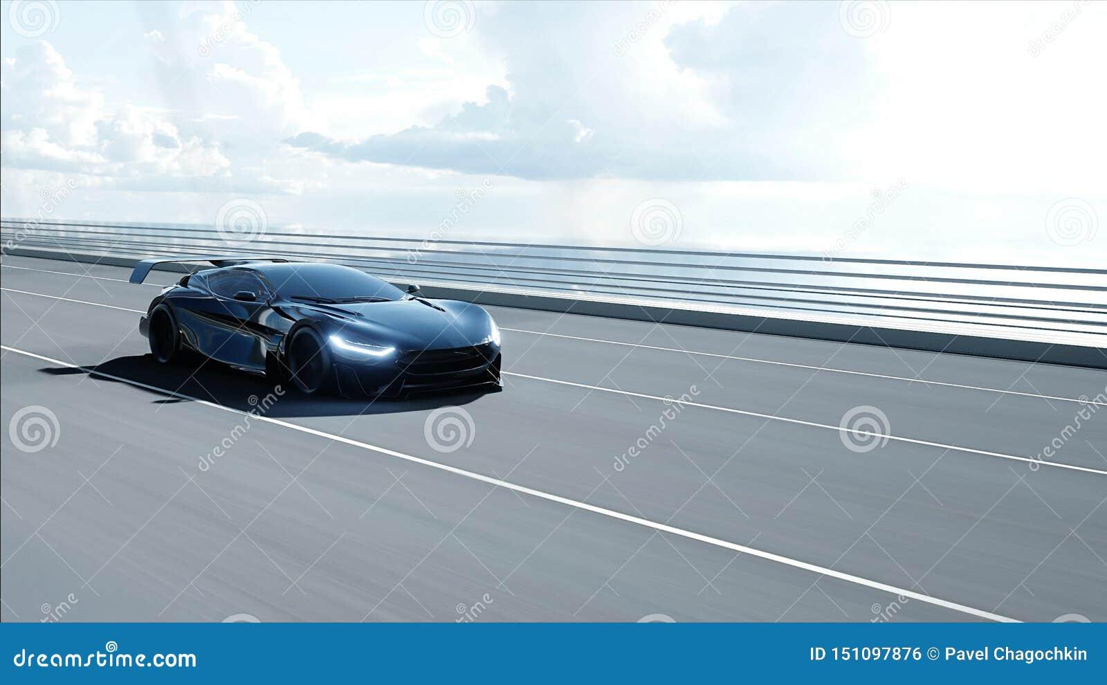 3d model van zwarte futuristische auto op de brug Zeer snel drijvend Concept toekomst het 3d teruggeven