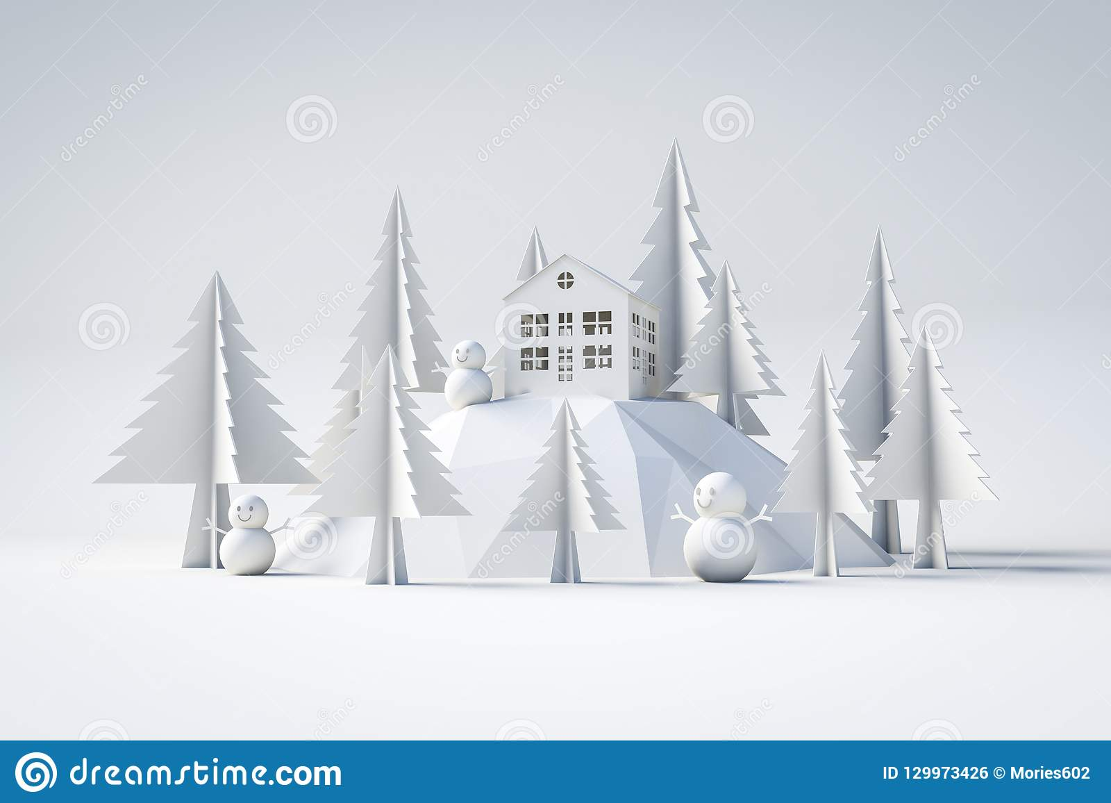 3d model winter and christmas concept