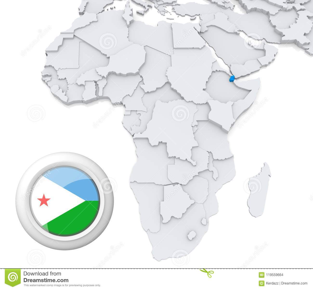 Djibouti On Africa Map.Djibouti On Africa Map Stock Illustration Illustration Of Business