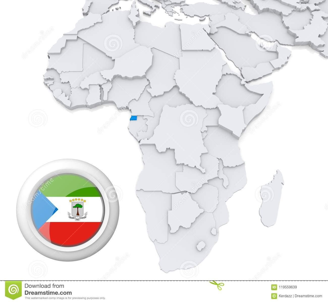Equatorial Guinea On Africa Map Stock Illustration ... on equatorial guinea africa, ghana world map, cape verde world map, equatorial guinea on map south america, malabo map, equator location on map, heremakono on the location of guinea africa map, tunisia world map,