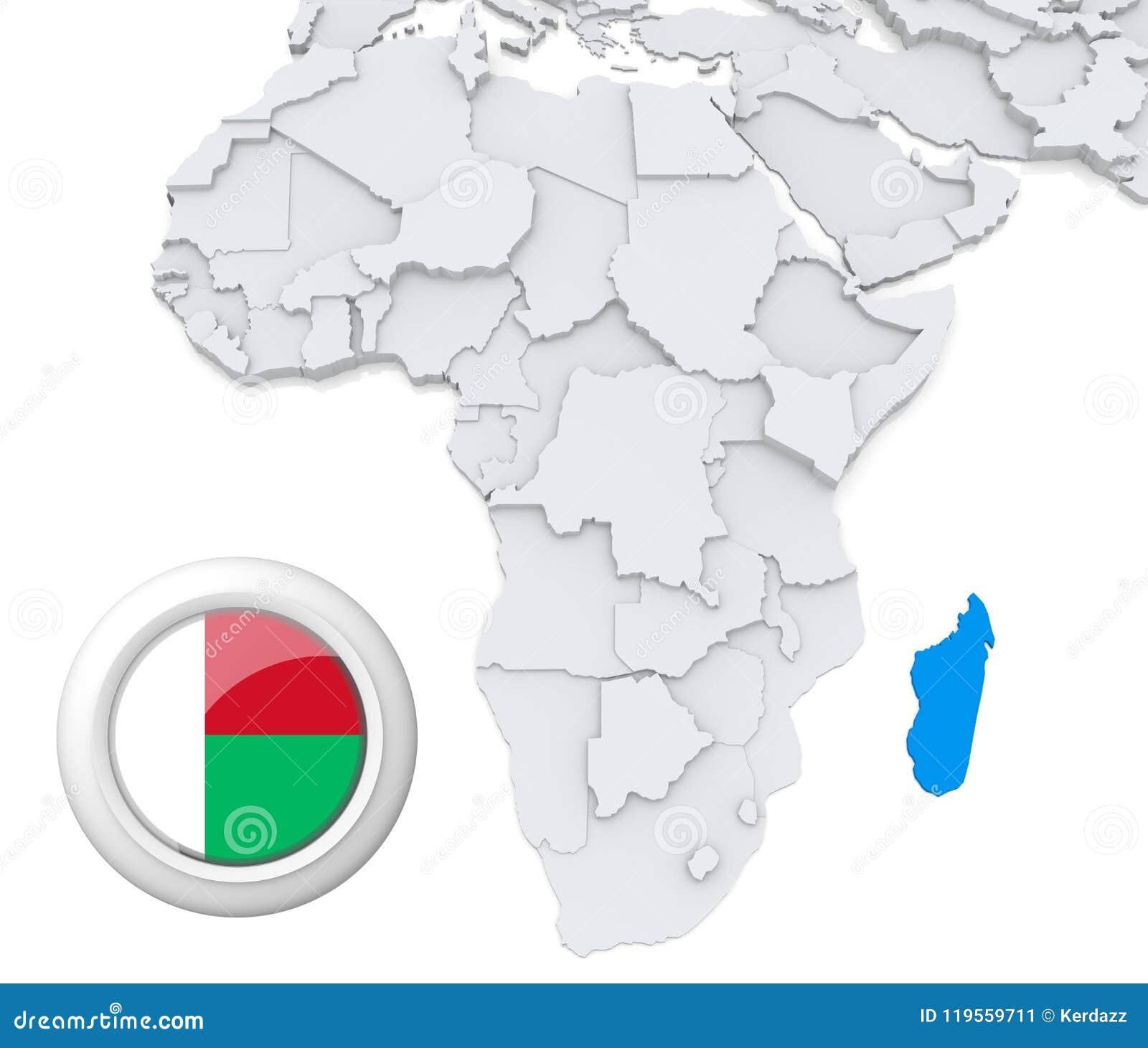 Madagascar On Africa Map Stock Illustration Illustration Of Flag