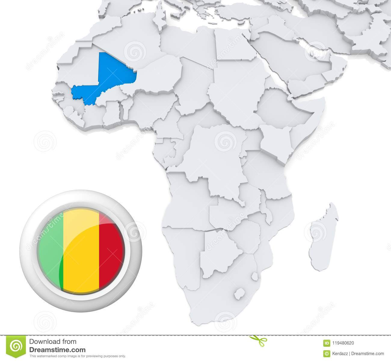 Mali On Africa Map Stock Illustration Illustration Of Politics