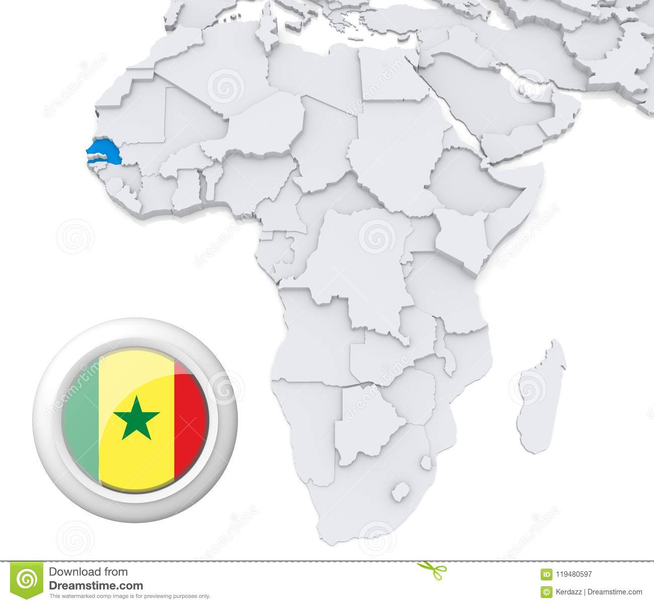 Senegal On Africa Map.Senegal On Africa Map Stock Illustration Illustration Of Basic