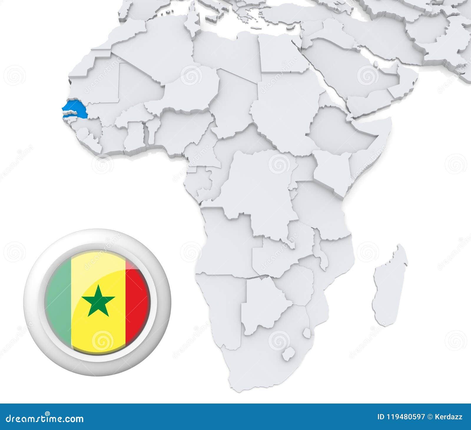 Senegal on Africa map stock illustration. Illustration of basic
