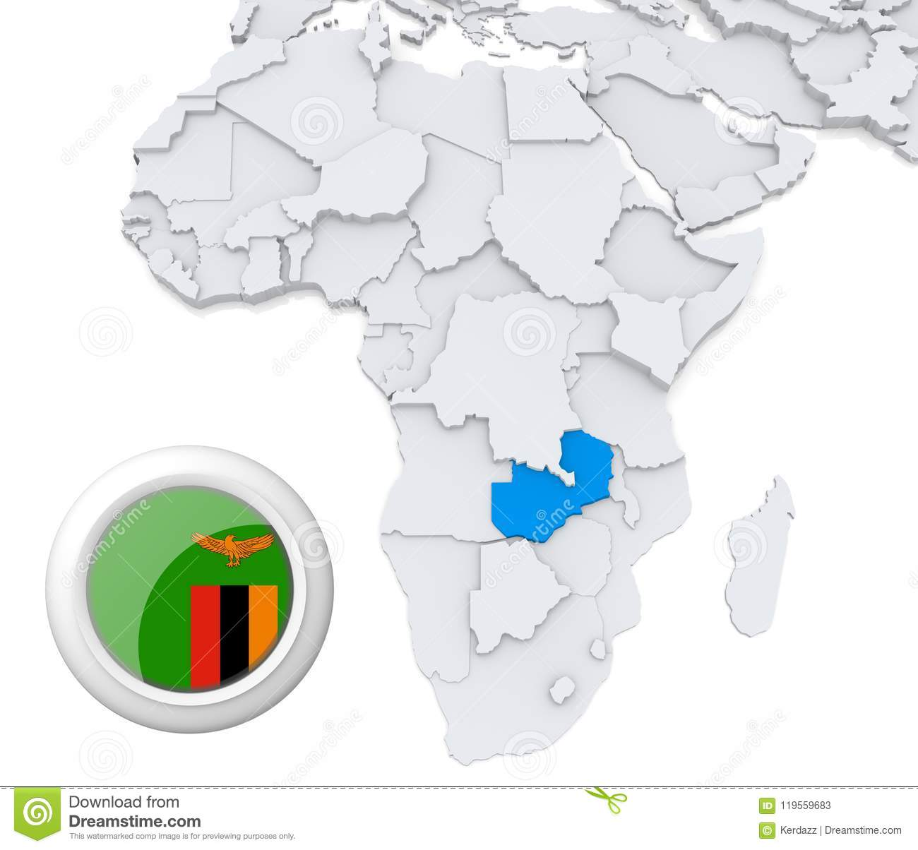 Zambia on Africa map stock illustration. Illustration of education ...
