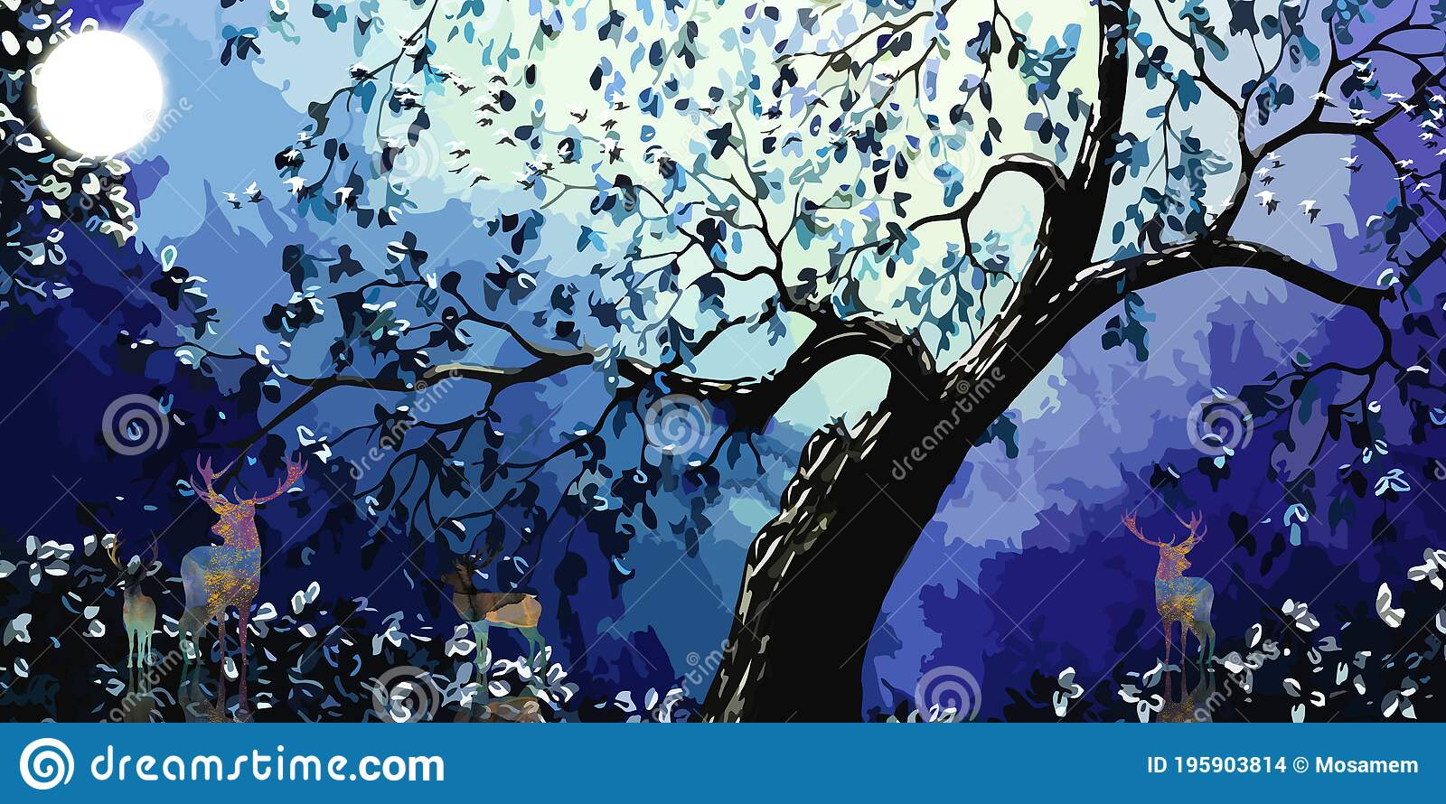 3d Modern Art Mural Wallpaper With Dark Blue Background Deer White Moon And Black Christmas Tree With Birds Stock Illustration Illustration Of Outdoor Background 195903814