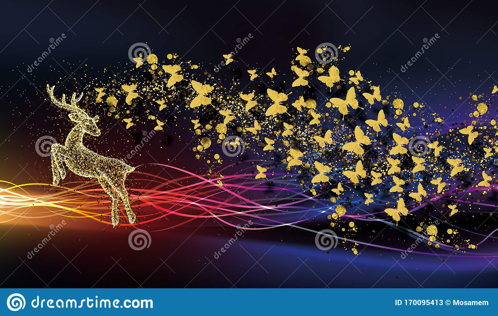 3d Modern Art Mural Wallpaper With Dark Blue Jungle Forest Background Golden Deer Black Christmas Tree Mountain Moon Wit Stock Illustration Illustration Of Meadow Gold 170095413