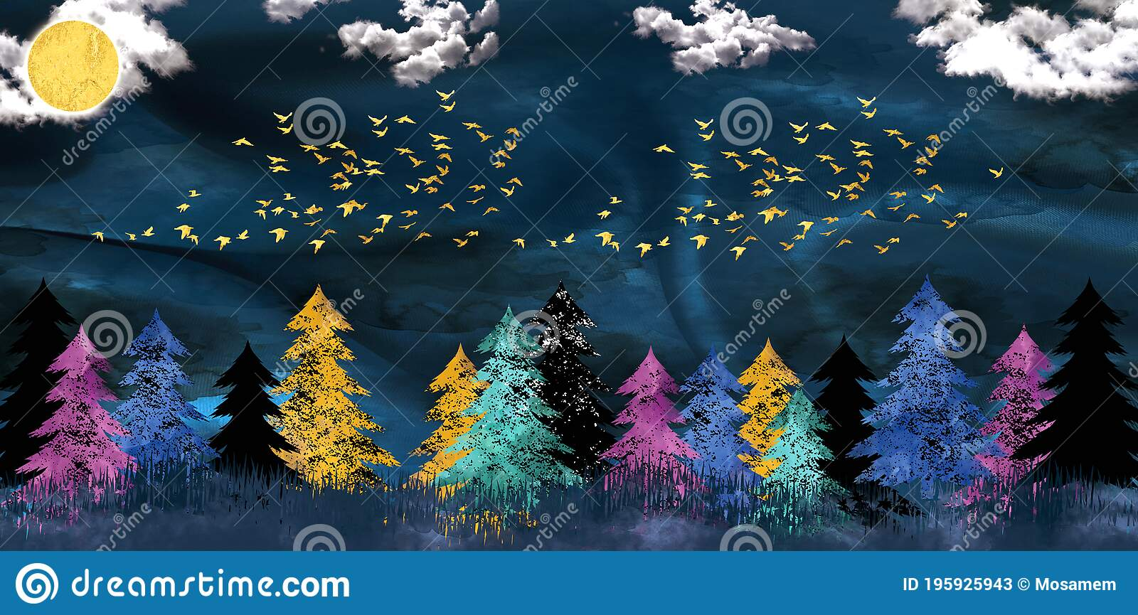 3d Modern Art Mural Wallpaper With Dark Blue Jungle Forest Dark Blue Background Black Christmas Tree Mountain Golden Moo Stock Illustration Illustration Of Antlers Design 195925943