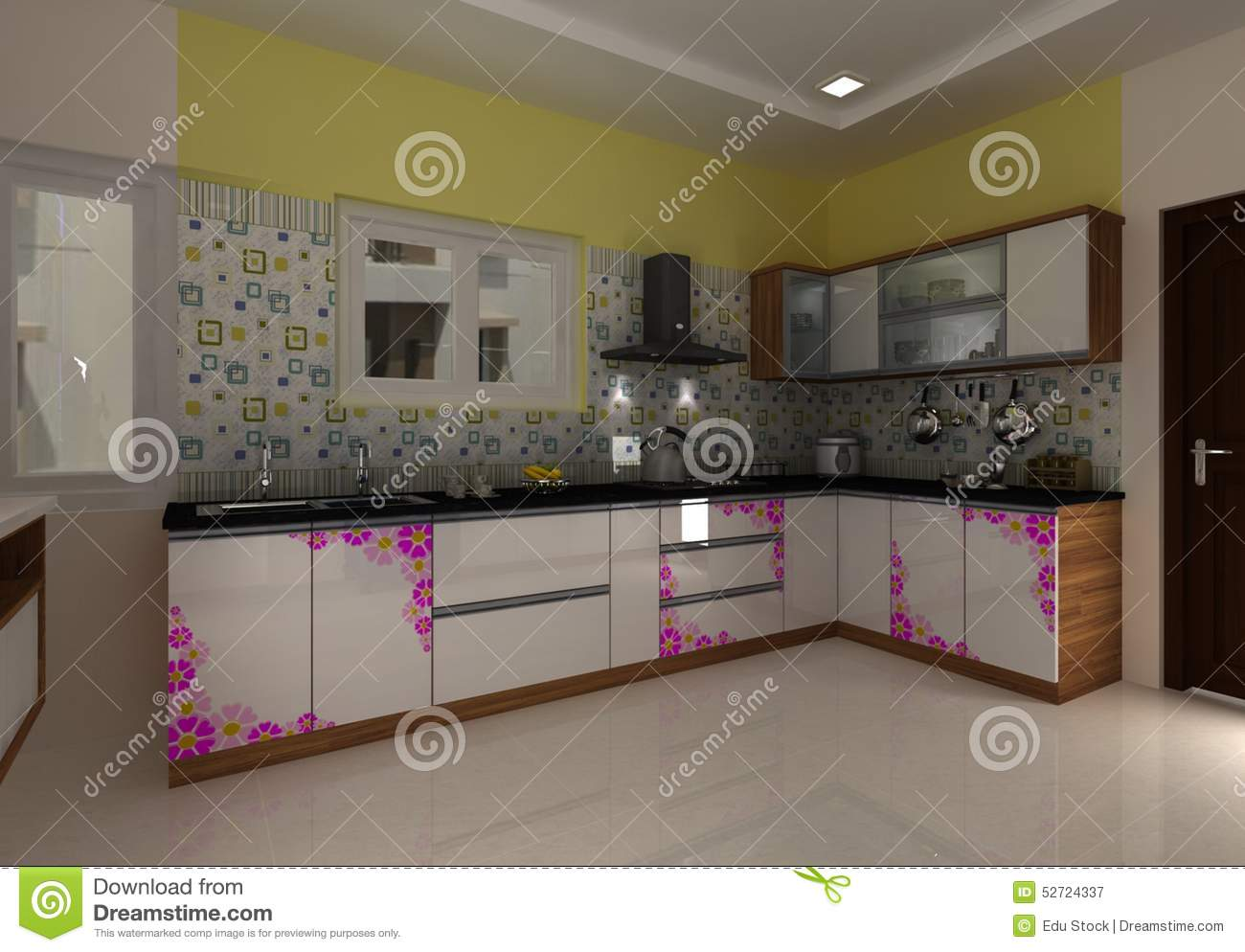 3D Modern Kitchen Interior Design Stock Illustration ...