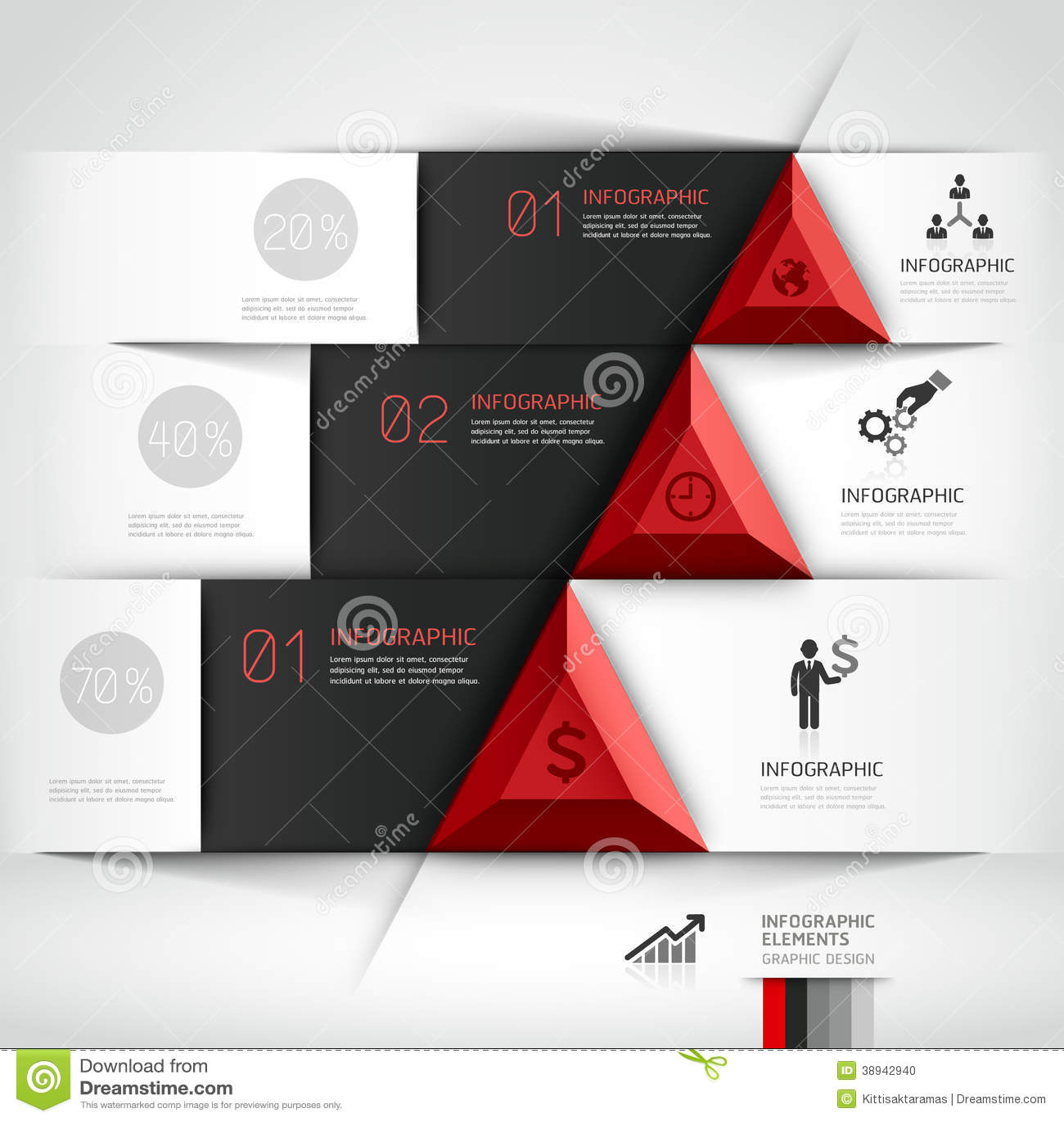 3d Modern Business Steb Origami Style Banner. Stock Vector ...