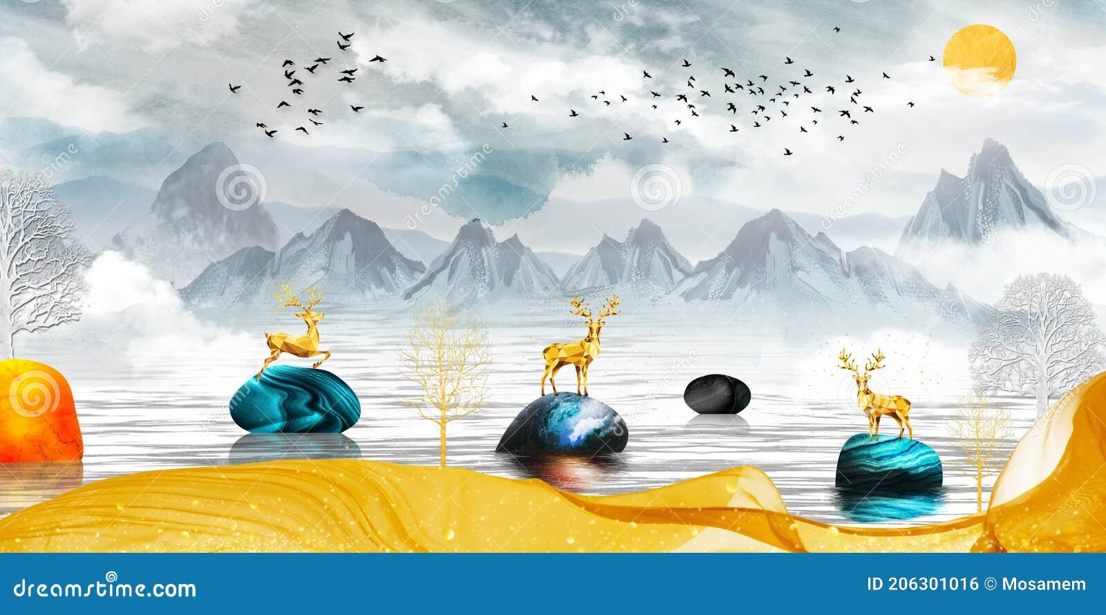 3d Modern Canvas Art Mural Wallpaper Landscape Lake Background Golden Deer Christmas Tree Gray Mountain Sun With Clouds An Stock Illustration Illustration Of Decoration Landscape 206301016