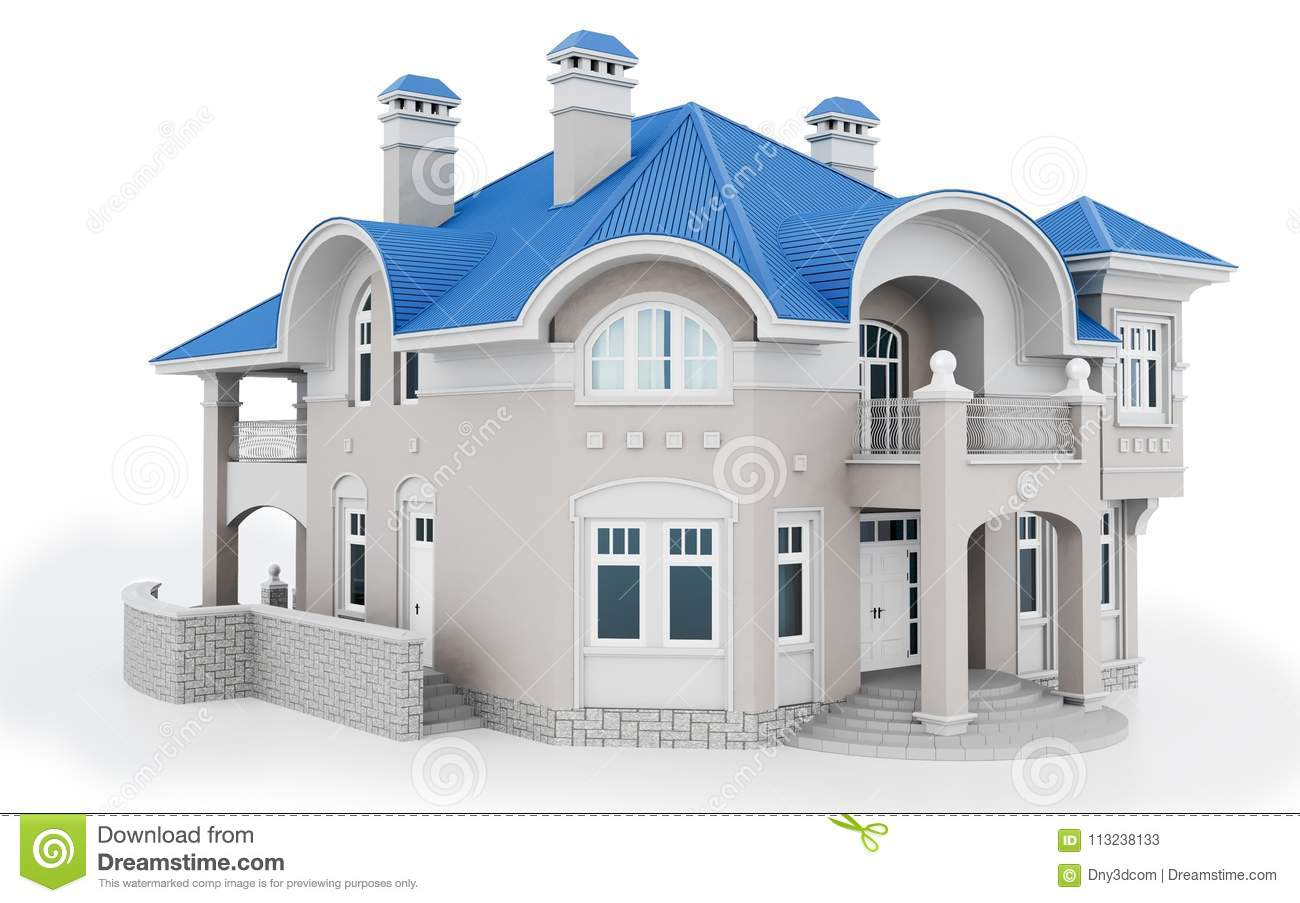 3d modern house with blue roof