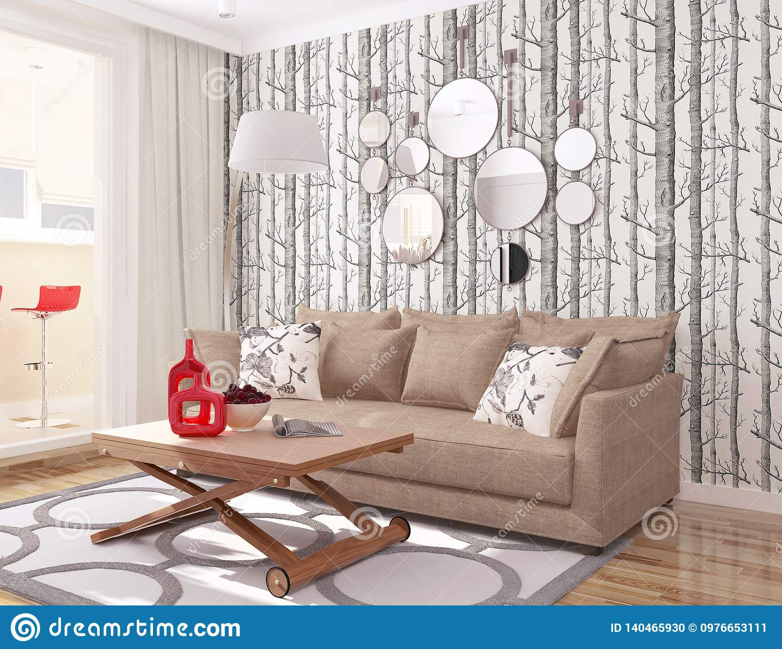 3d Interior Modern Living Room With Wallpaper Tree Cole