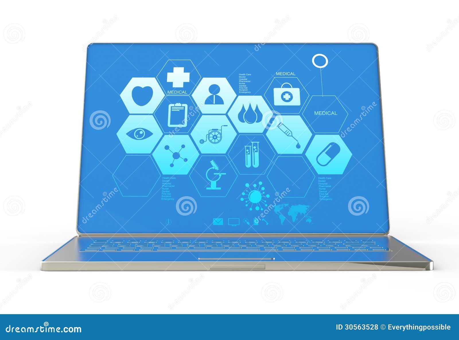3d moderne laptop computer en medische interface