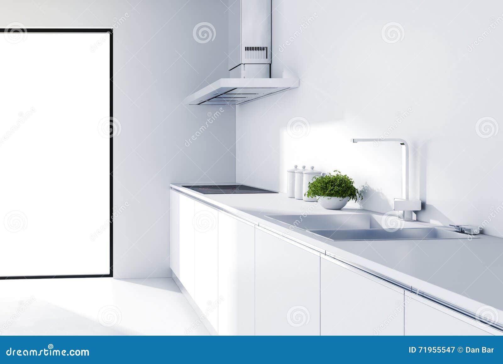 3d moderne witte keuken stock illustratie   afbeelding: 71955547