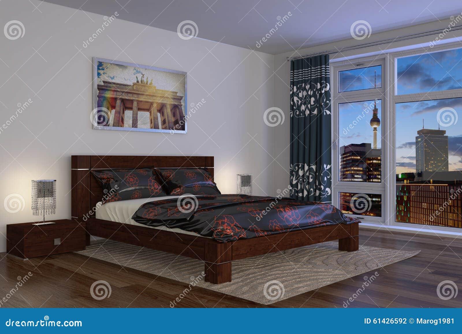 3d - modernt sovrum - hotell