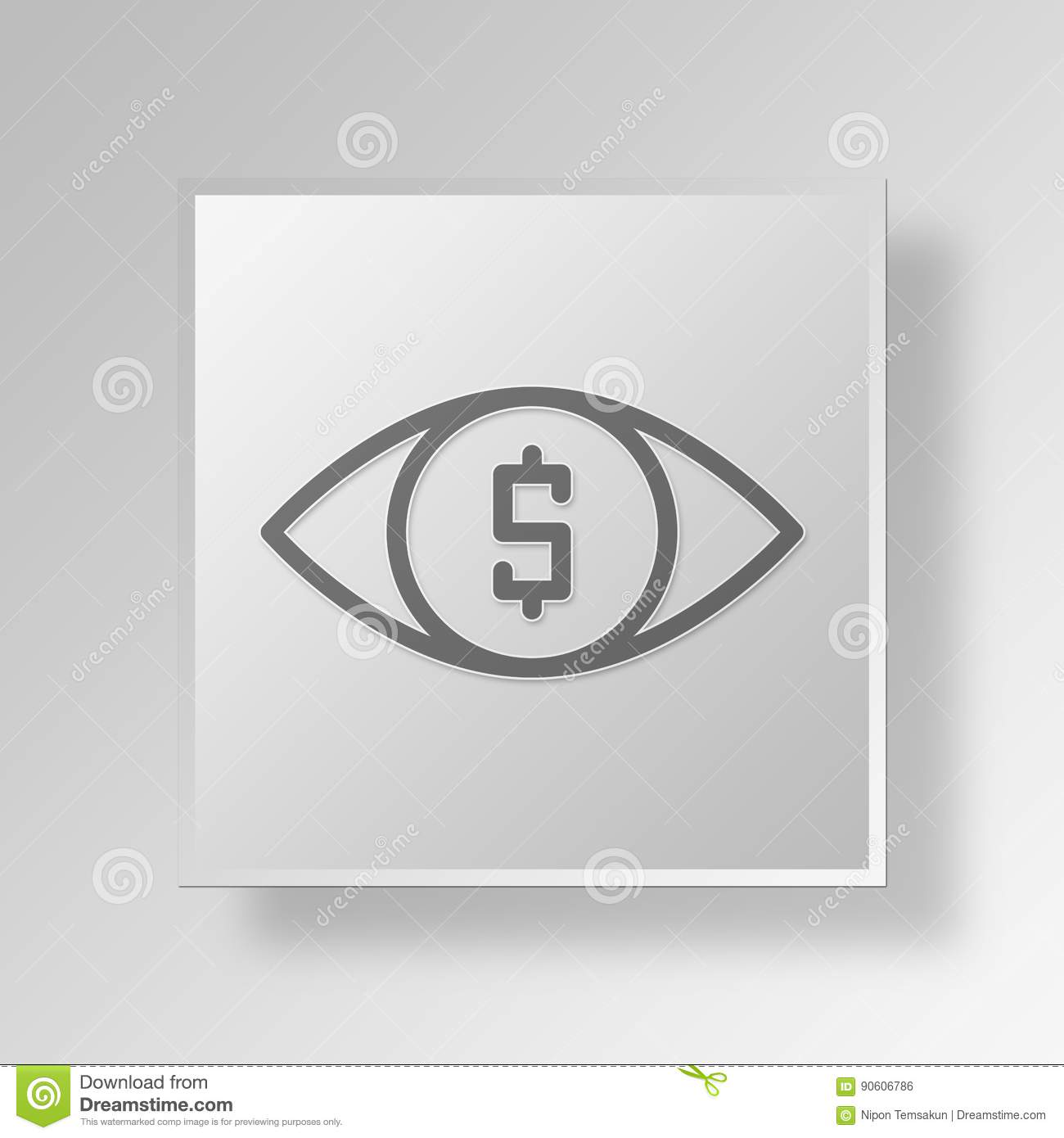 3D money eye icon Business Concept