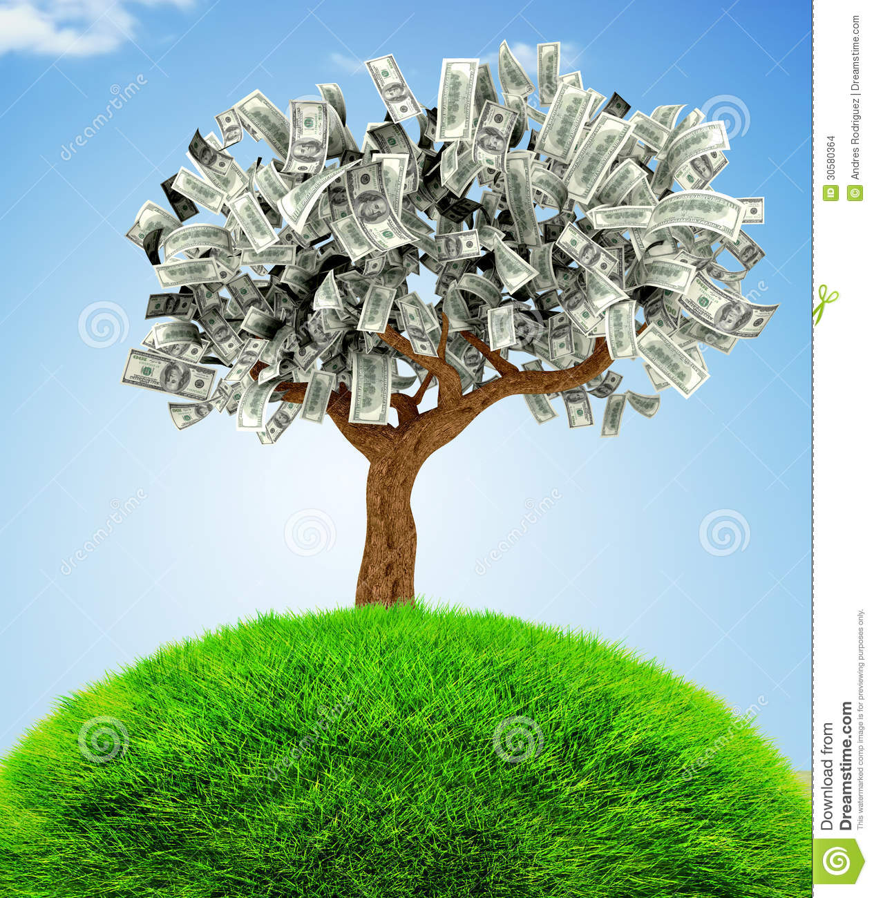 Finance Tree: 3D Money Growing On Trees Stock Images