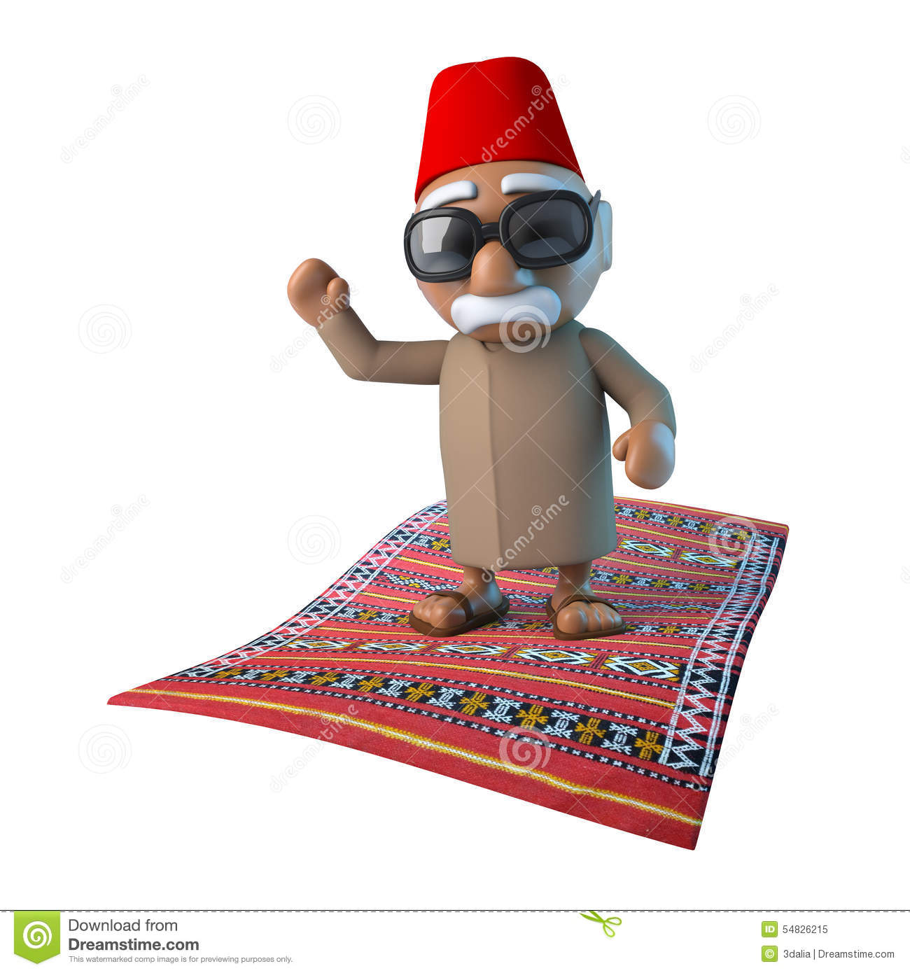 3d moroccan on flying carpet stock illustration for Flying carpet logo