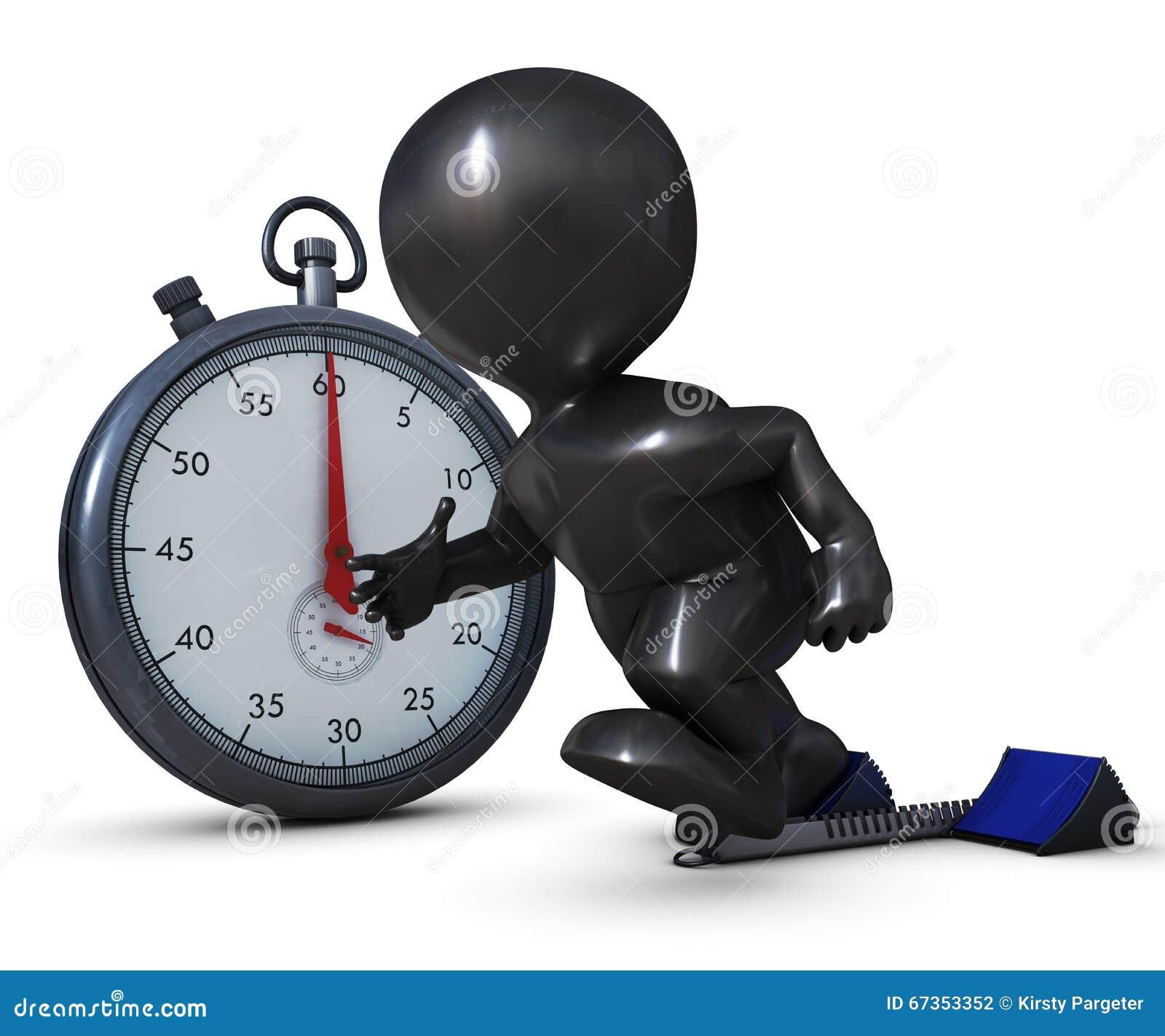 3D Morph l homme sur les blocs commençants et le chronomètre