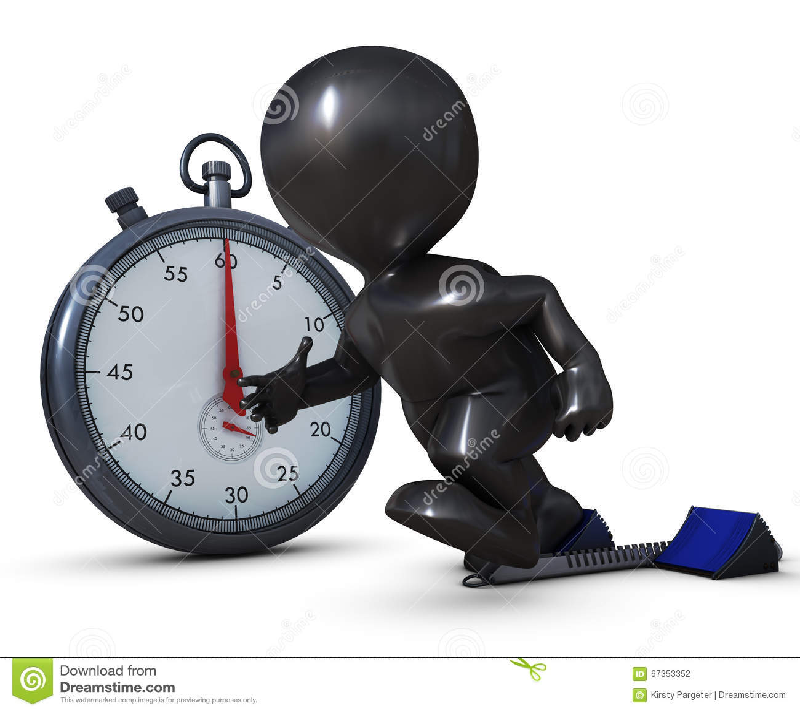3D Morph l uomo sui blocchetti cominciare e sul cronometro