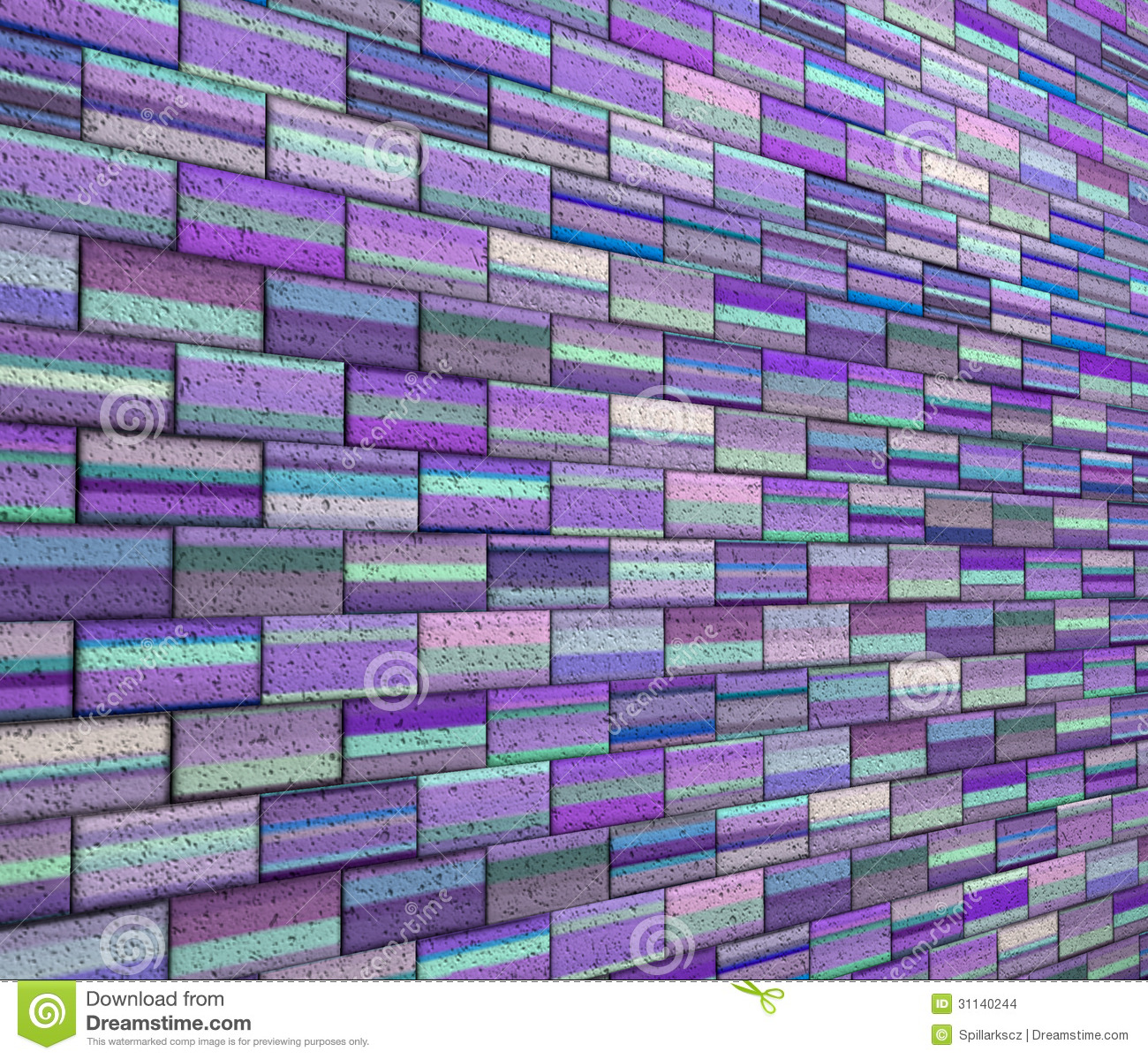 3d mosaic tile brick wall in purple blue stripe stock images image 31140244