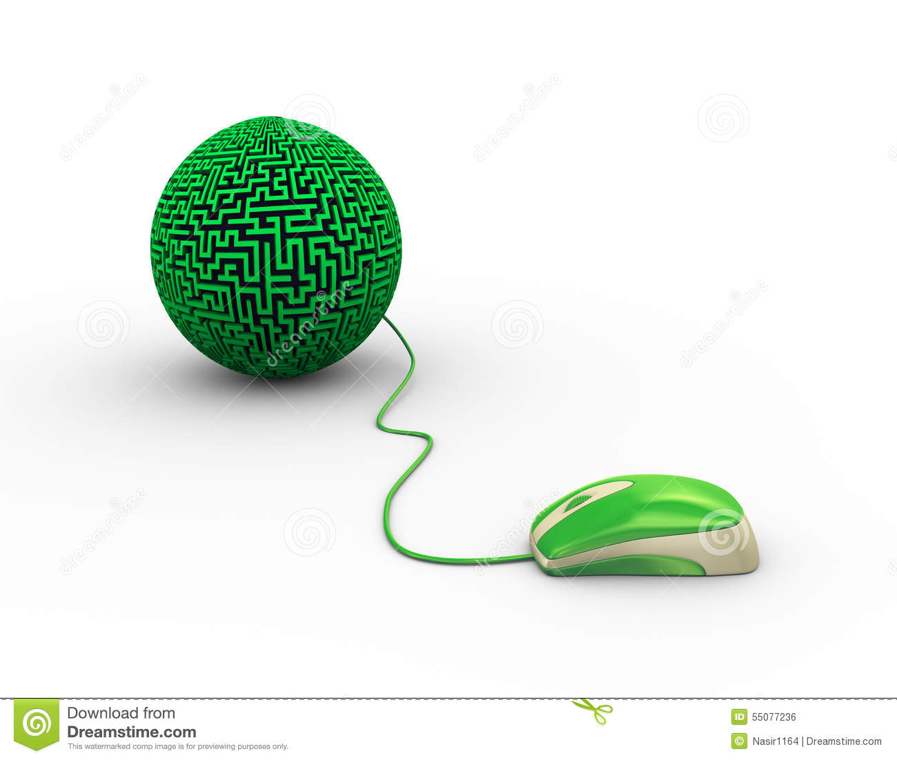 3d mouse attached to labyrinth maze ball