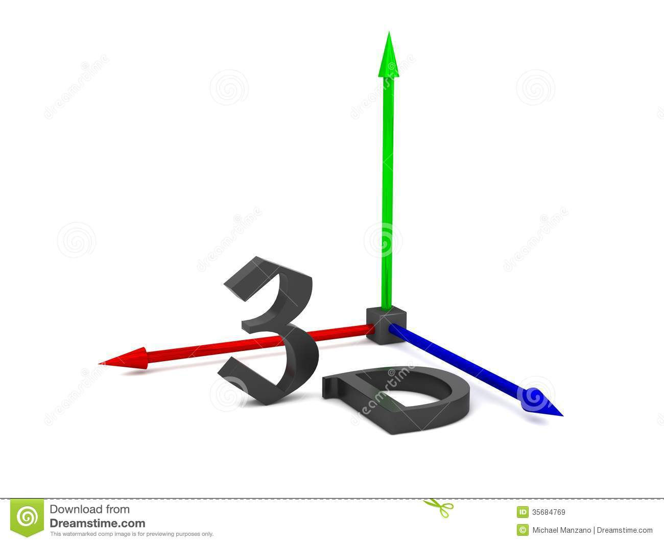 3d multicolored graphics axes stock illustration