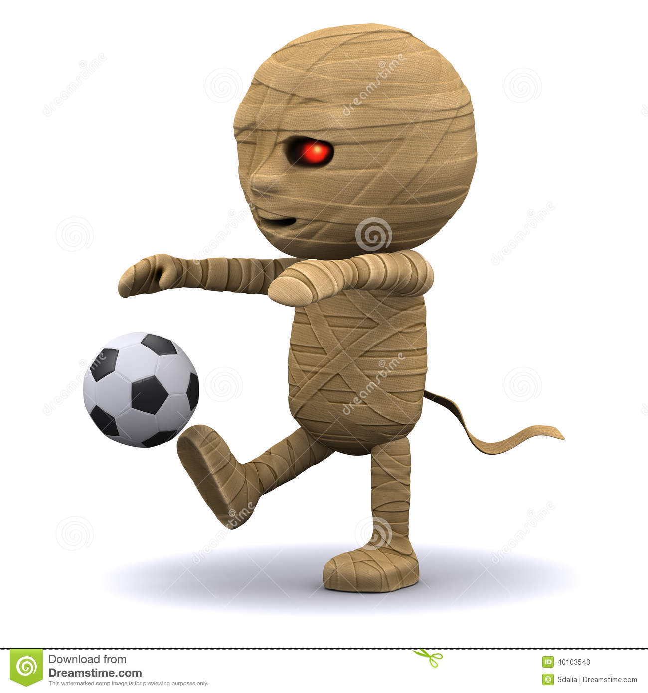 3d Mummy kick a football