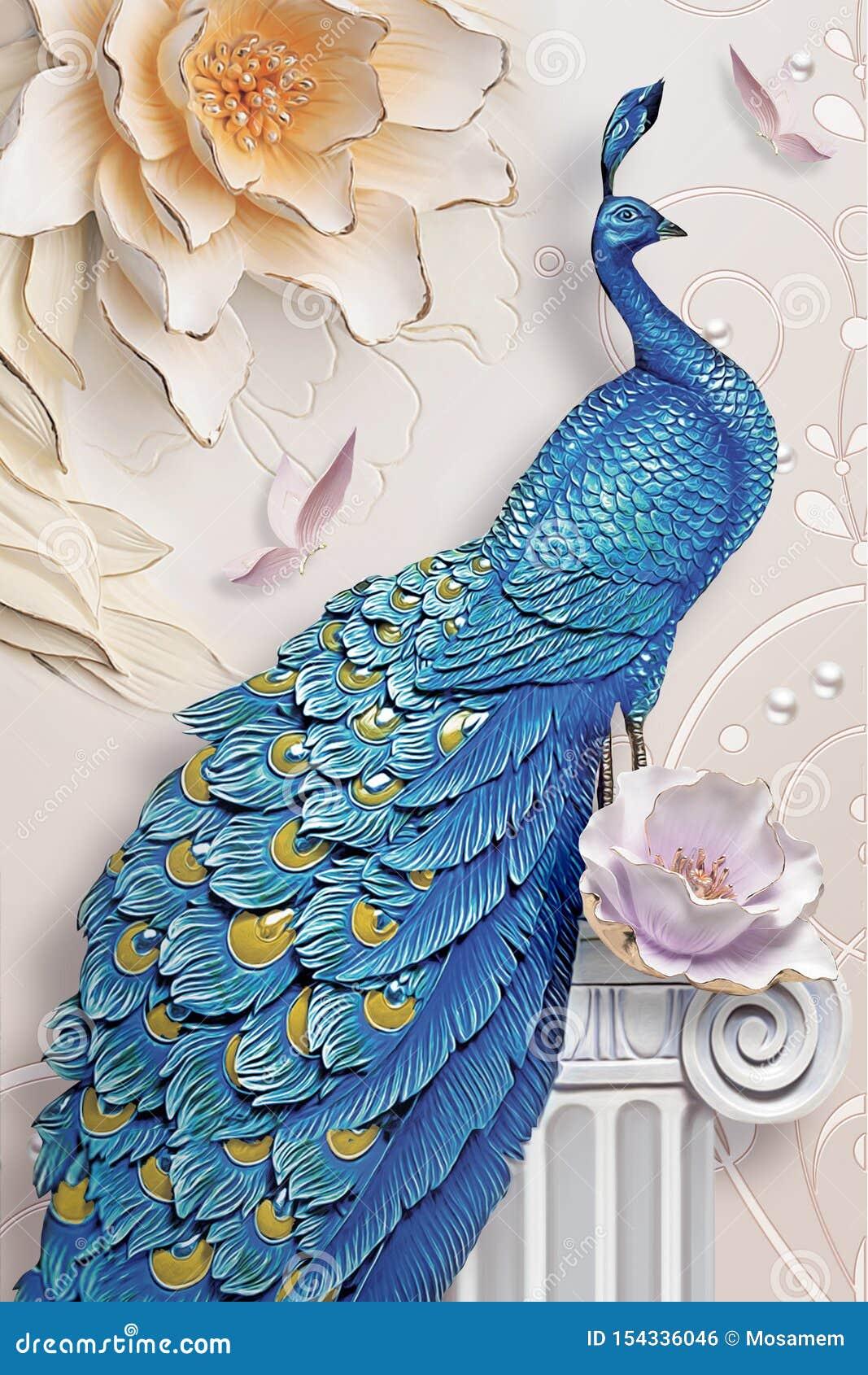 d mural background blue peacock branch wallpaper flowers flowersn 154336046