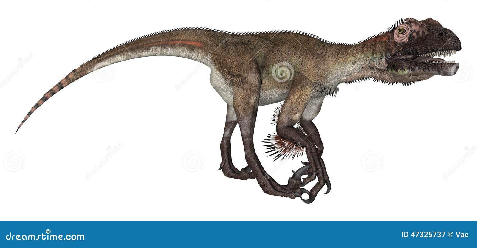 3d nad ścieżką ścinku dinosaur odpłaca się cienia utahraptor biel