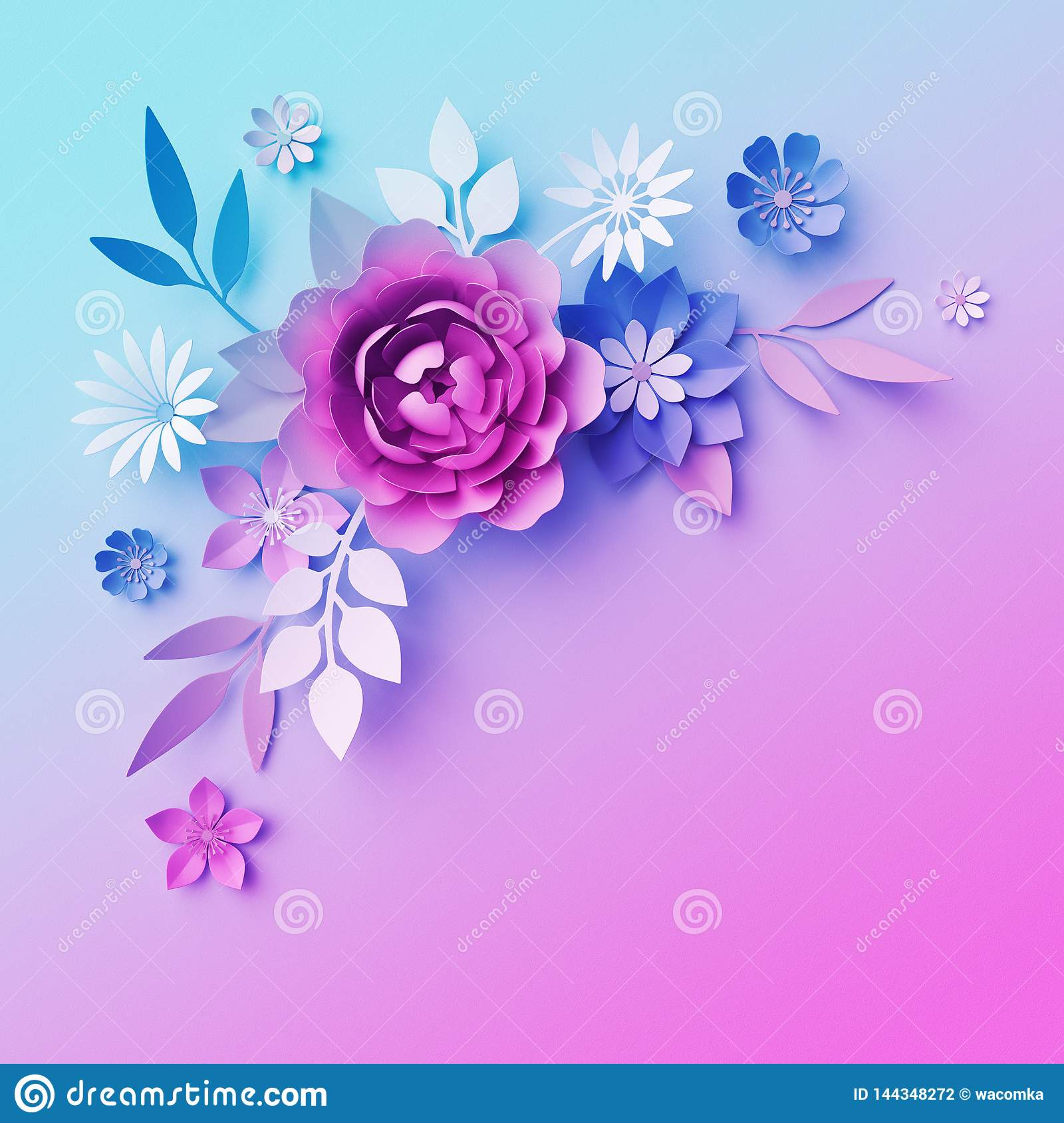3d Neon Paper Flowers Botanical Background Isolated Corner