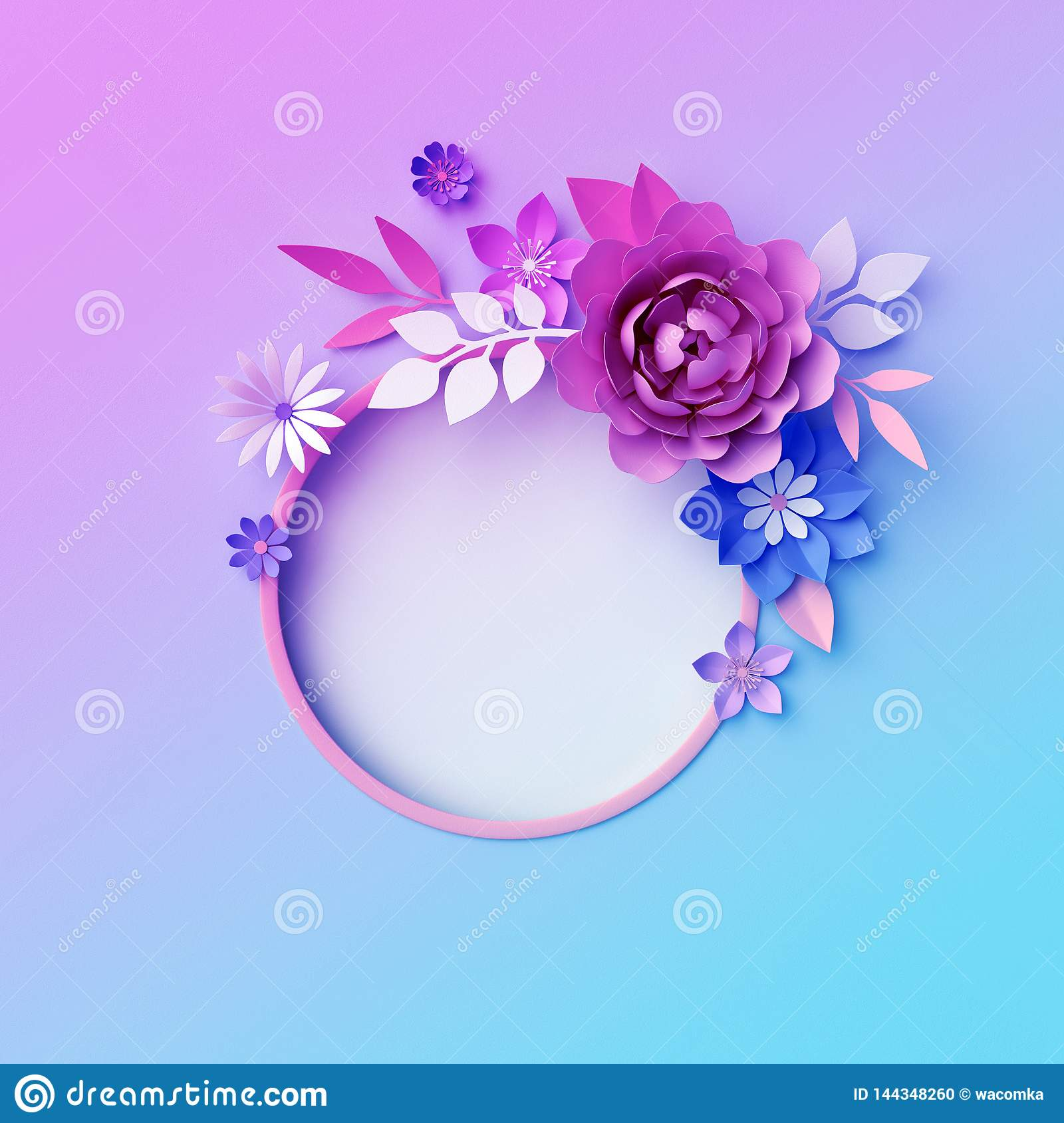 3d Neon Paper Flowers Botanical Background Isolated Round Frame