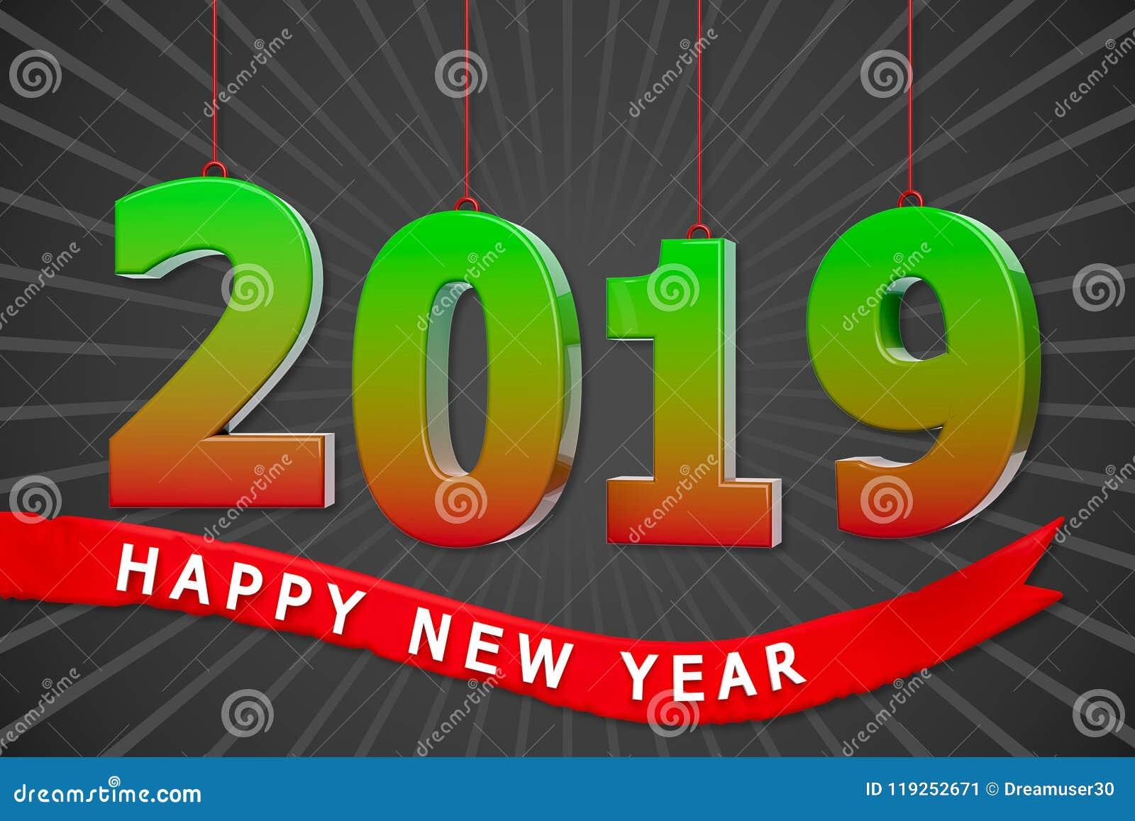 3d 2019 New Year Greetings Stock Illustration Illustration Of