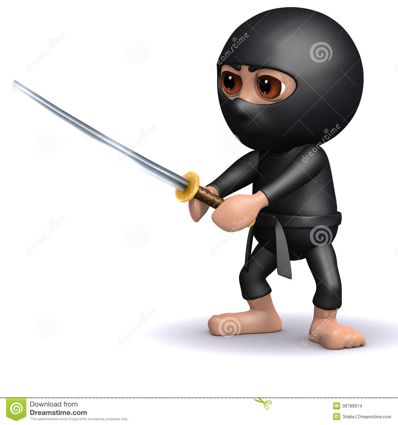 3d Ninja in fighting pose