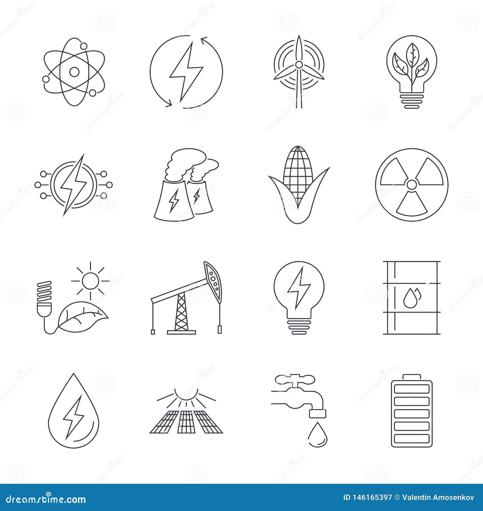D?nne Linie Ikonen eingestellt Ikonen f?r erneuerbare Energie, gr?ne Technologie
