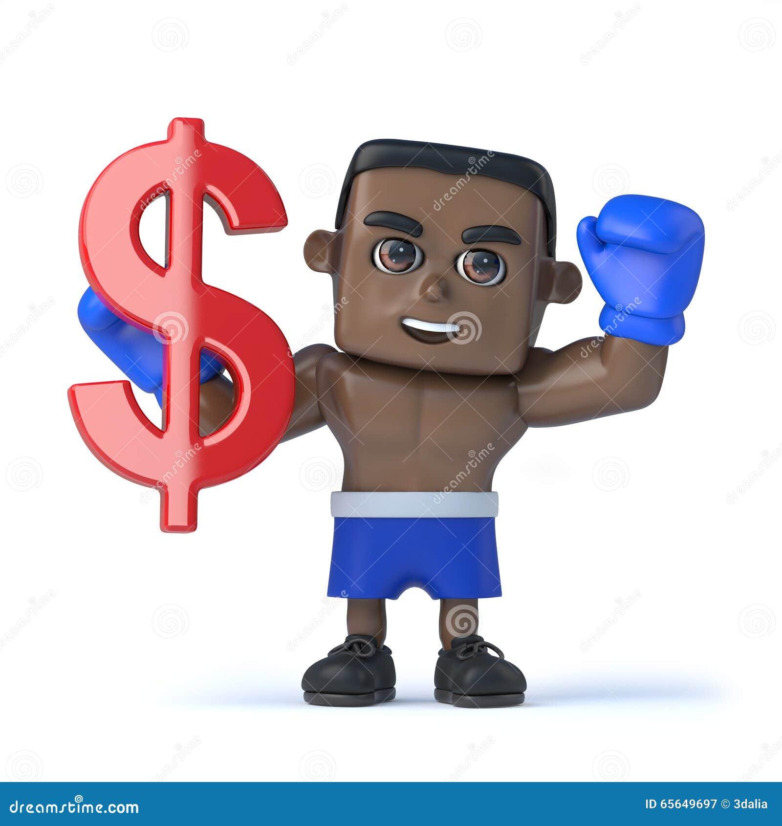 3d noircissent le boxeur tiennent le symbole monétaire de dollar US