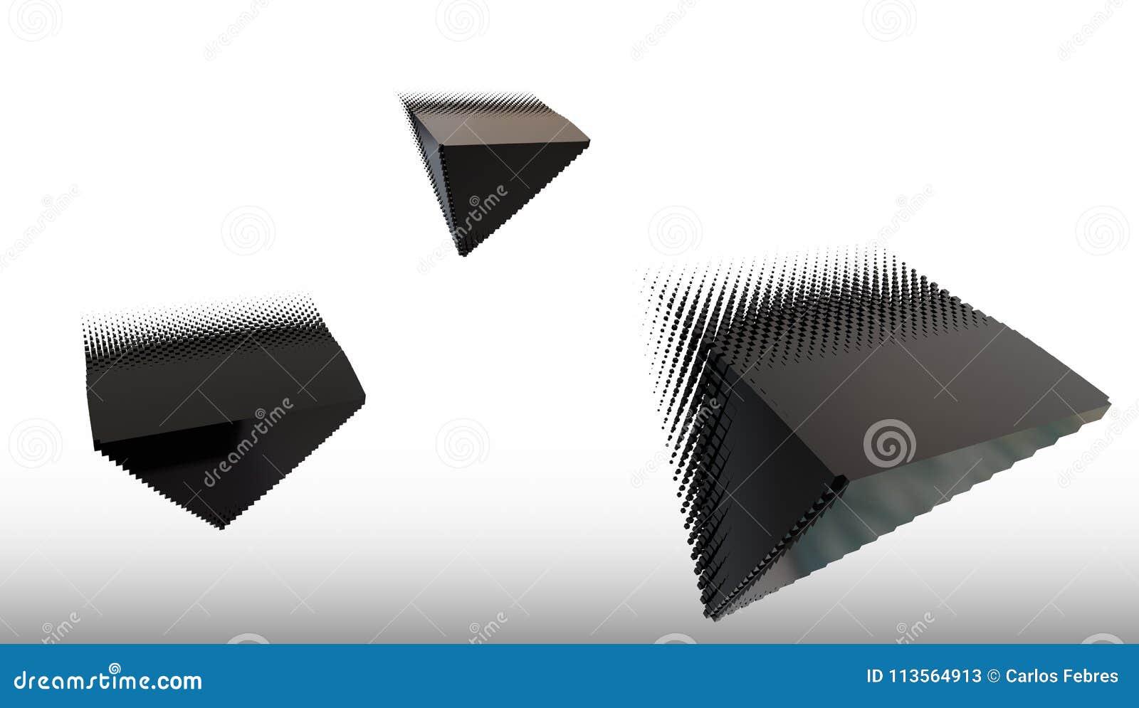 3d noircissent le piramid du matériel en métal, l illustration 3d