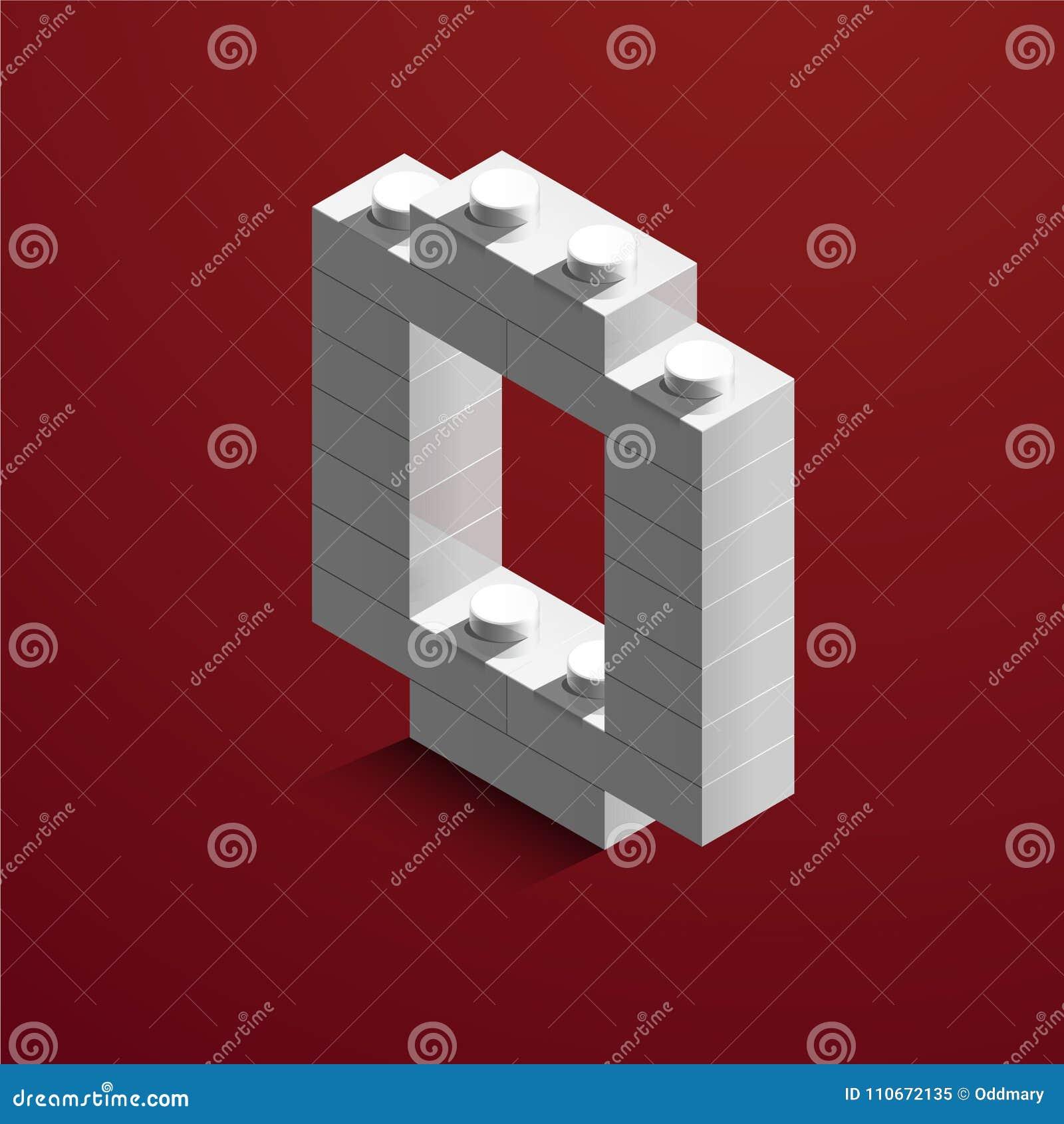 3d nombre blanc isométrique zéro de la brique de lego sur le fond rouge nombre 3d des briques de lego Nombre réaliste