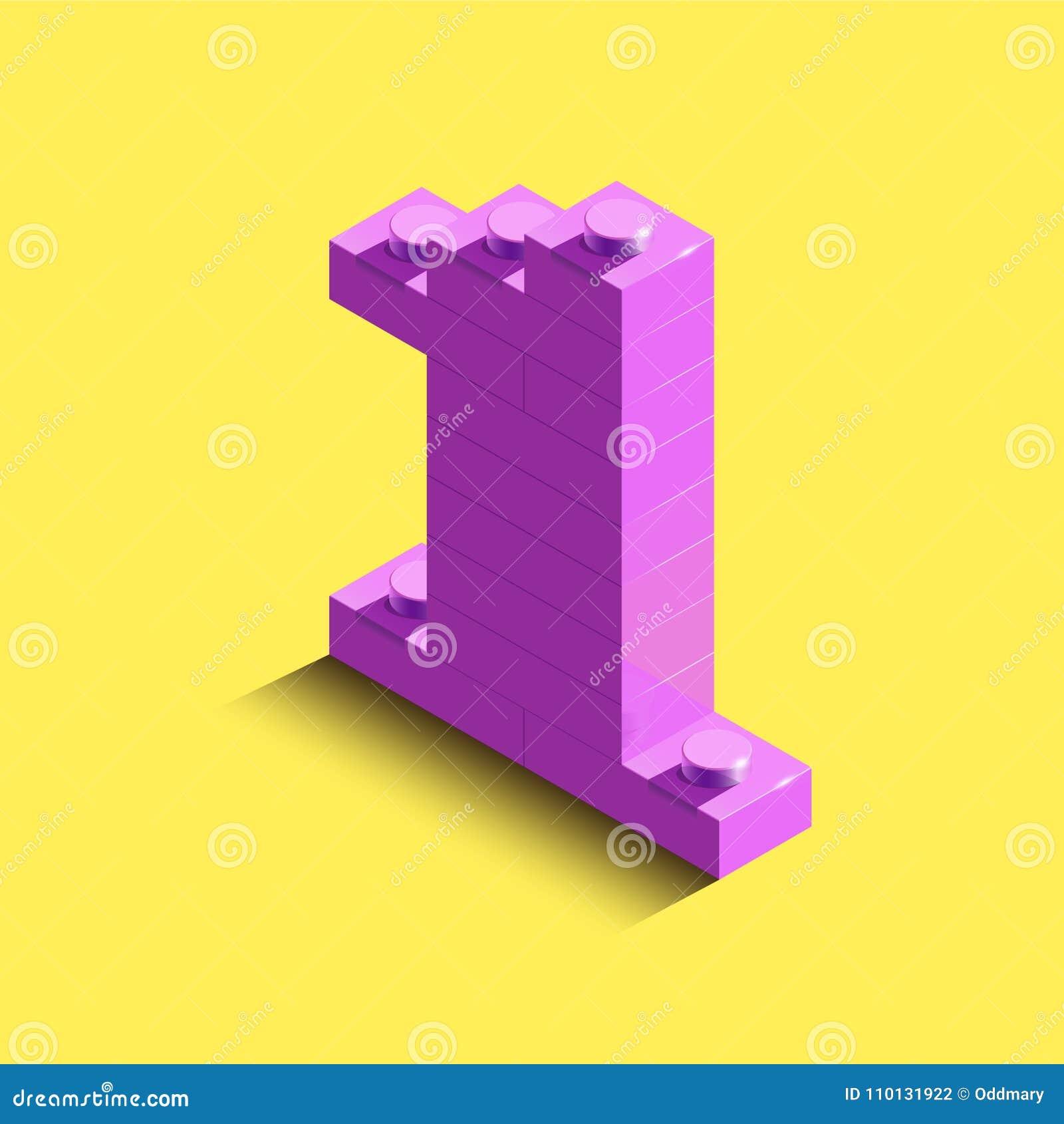 3d nombre rose isométrique un de la brique de lego sur le fond jaune nombre 3d des briques de lego Nombre réaliste