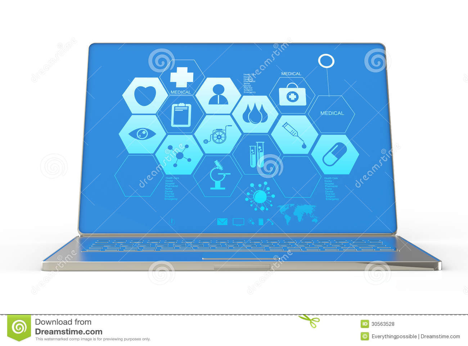 3d nowożytny laptop i medyczny interfejs