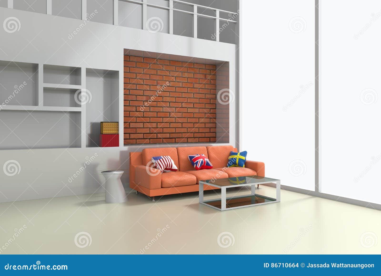 3d Nowożytny wnętrze żywy pokój z pomarańczową kanapą