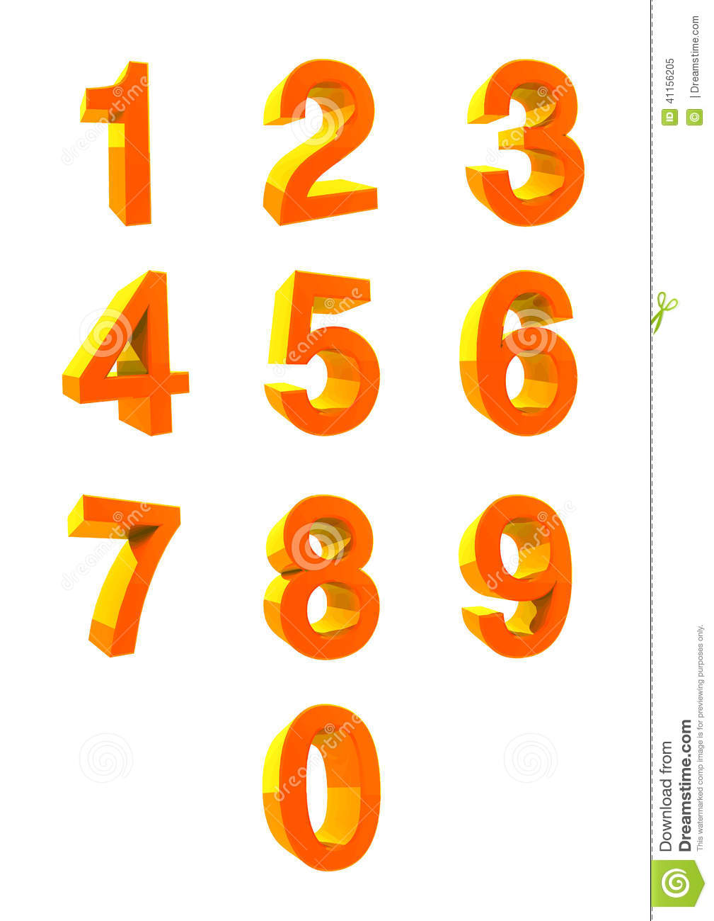 3d number collection numbers 1 2 3 4 5 6 7 8 9 0 stock
