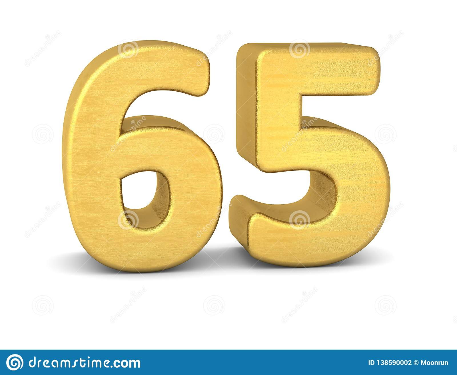 3d Number 65 Gold Stock Illustration  Illustration Of