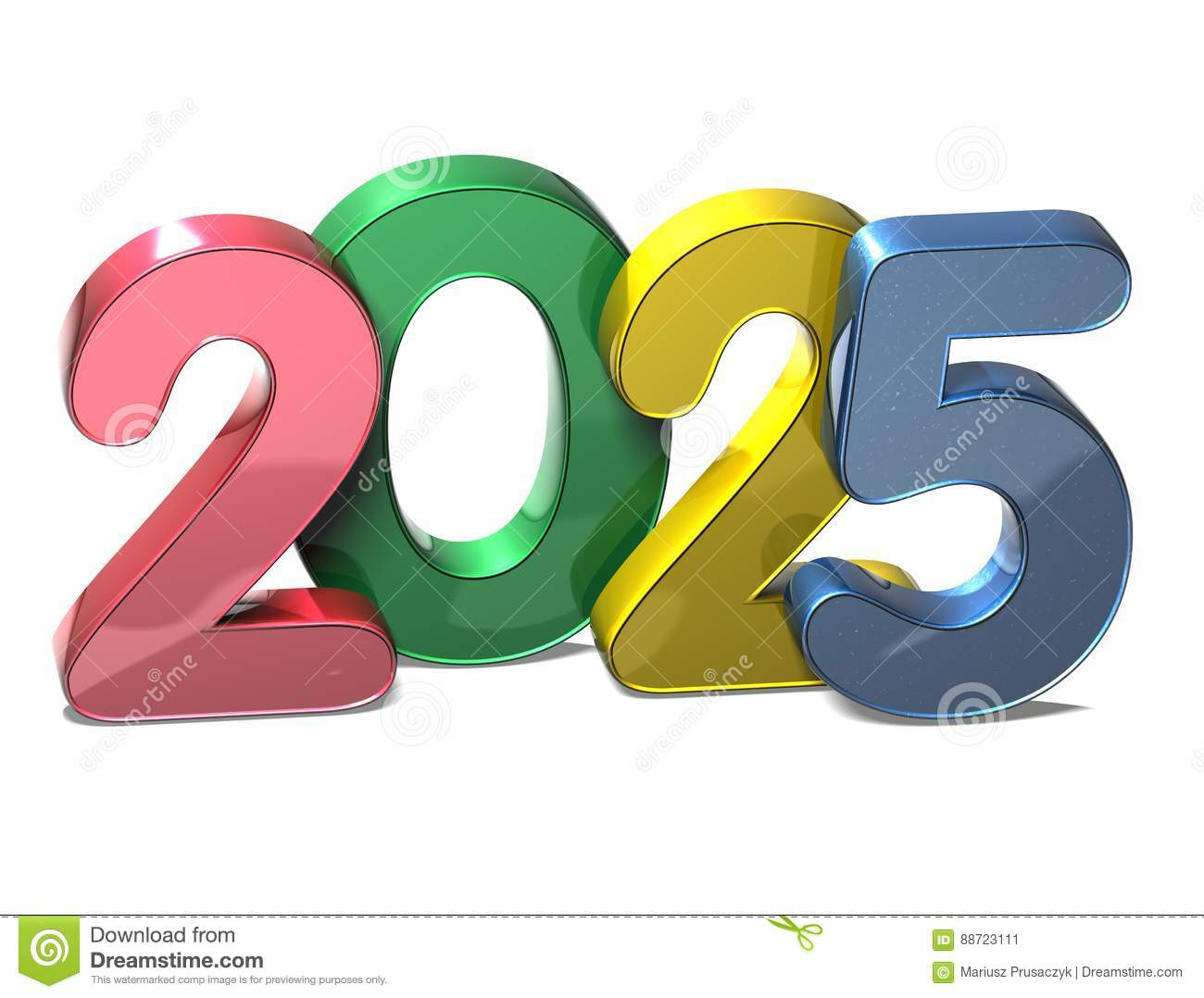 3D Number New Year 2025 on white background