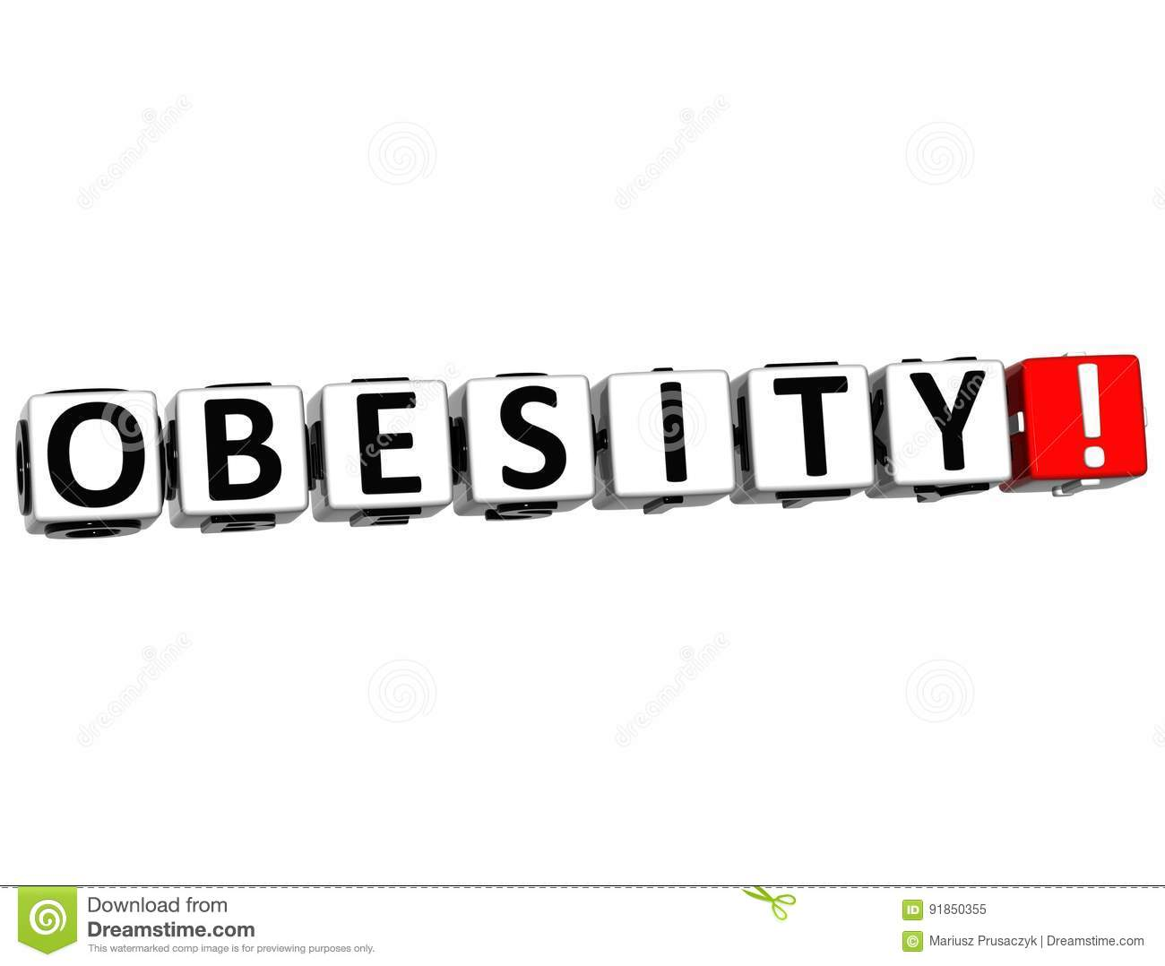 3D Obesity Button Click Here Block Text