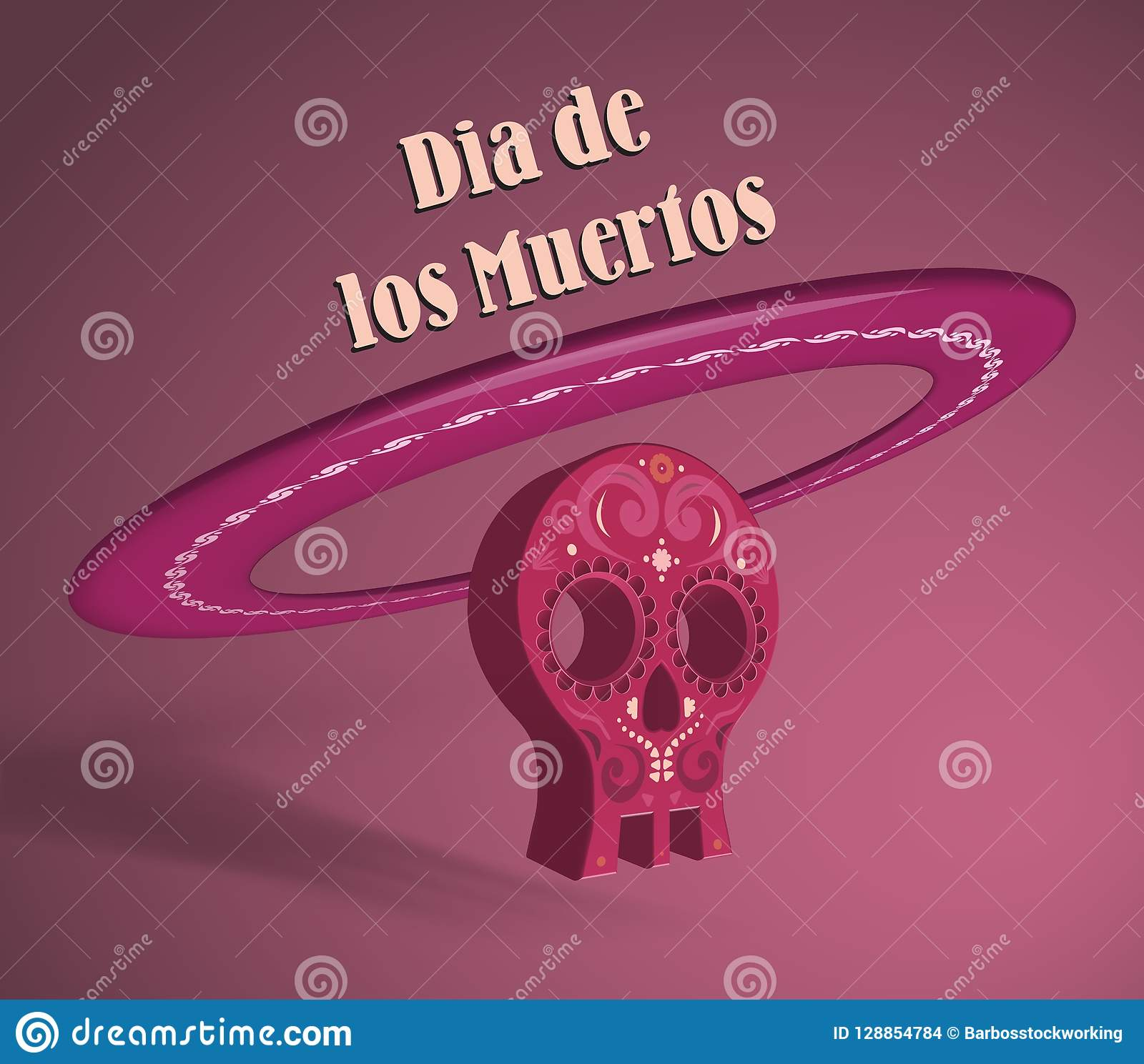 3d object symbolizing skull and sombrero hat